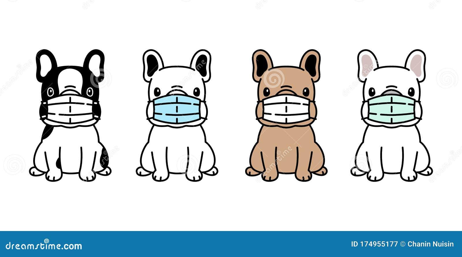Dog Vector Face Mask Covid19 French Bulldog Coronavirus Virus Pm