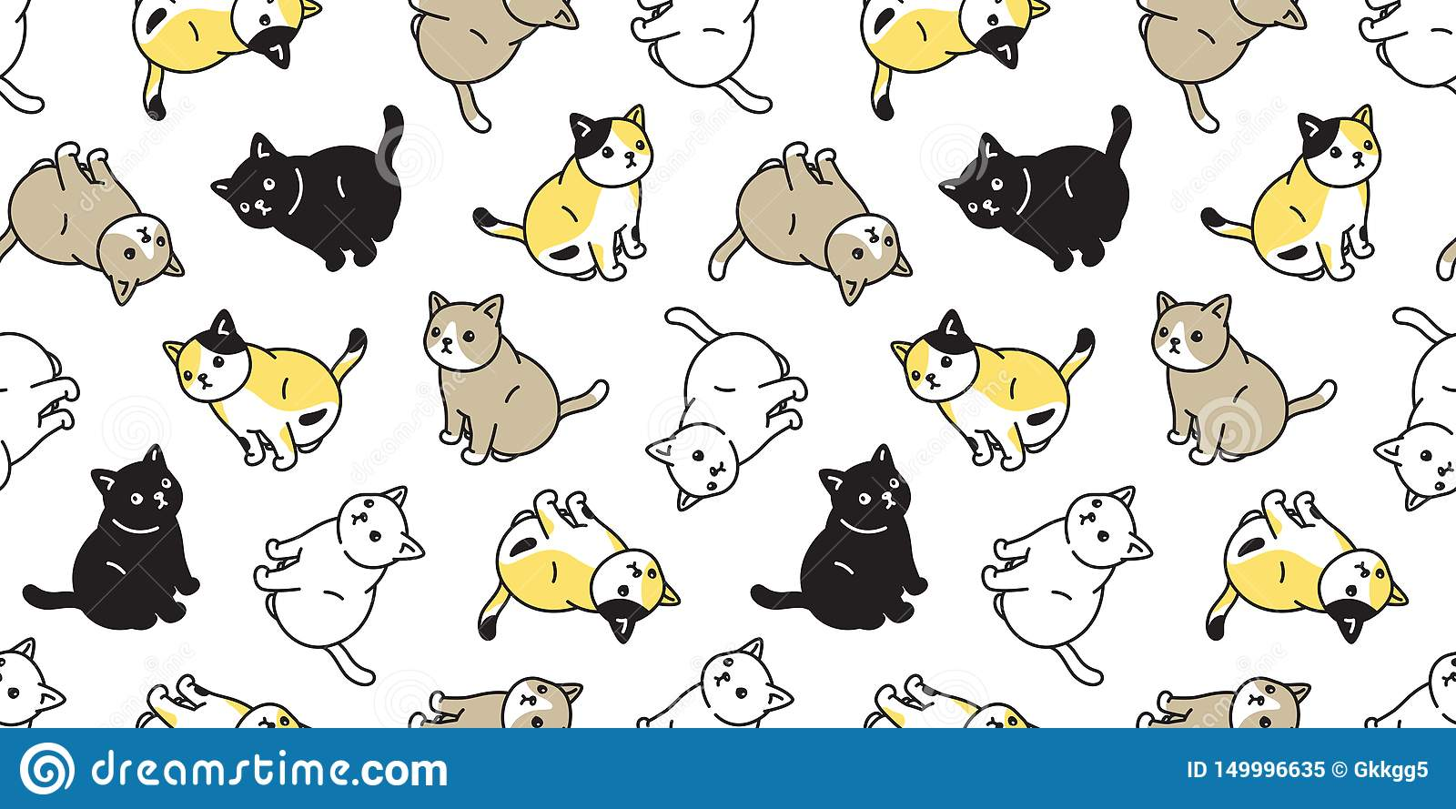 Cat Seamless Pattern Vector Kitten Calico Sitting Cartoon Scarf Isolated Tile Background Repeat Wallpaper Doodle Illustration Stock Illustration Illustration Of Drawing Funny 149996635