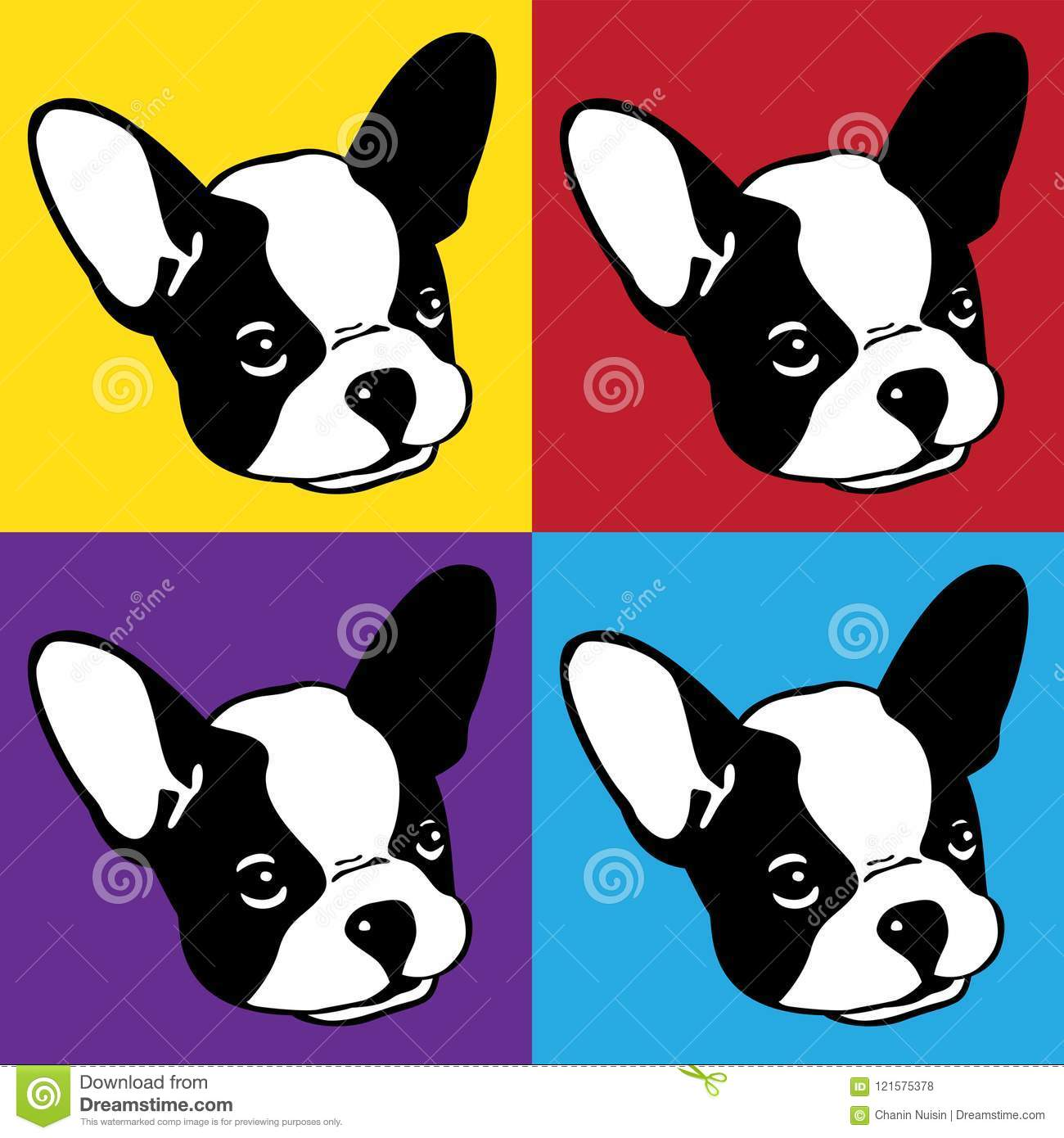Dog Vector French Bulldog Icon Logo Face Head Pop Art Cartoon