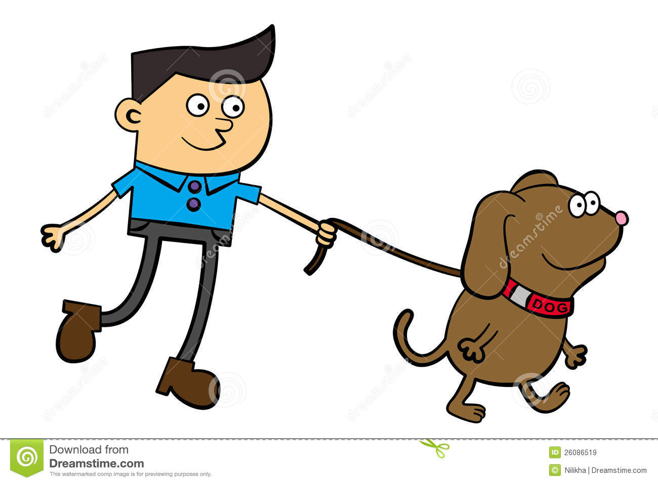 Pictures Of A Dog Being Walked Cartoon
