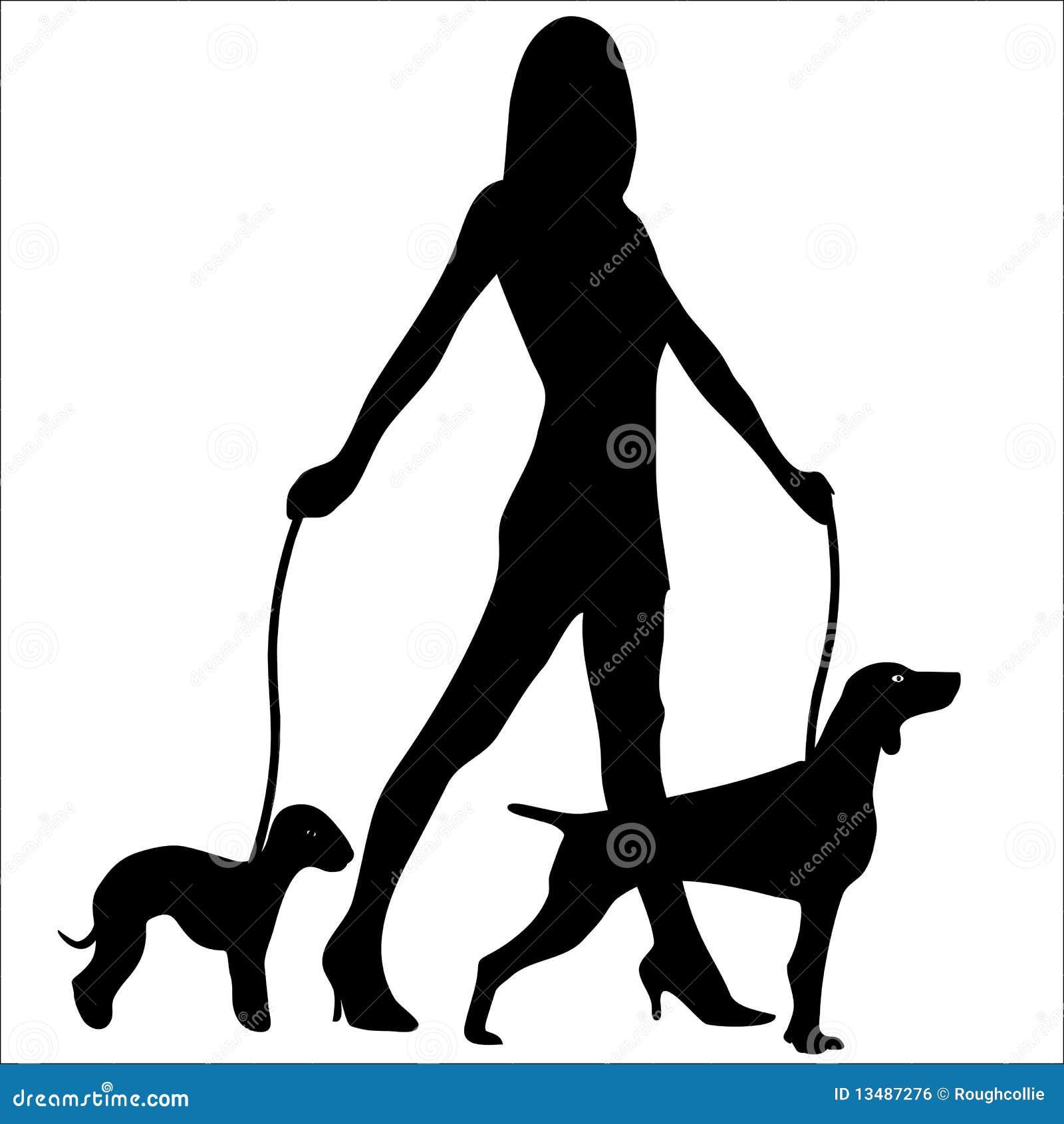 dog walking silhouette vector