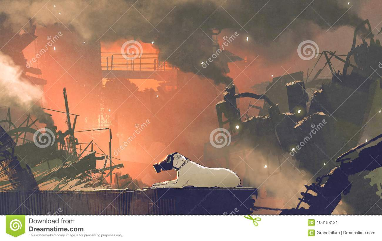 The dog wearing gas mask sitting in city with air pollution digital art style illustration painting