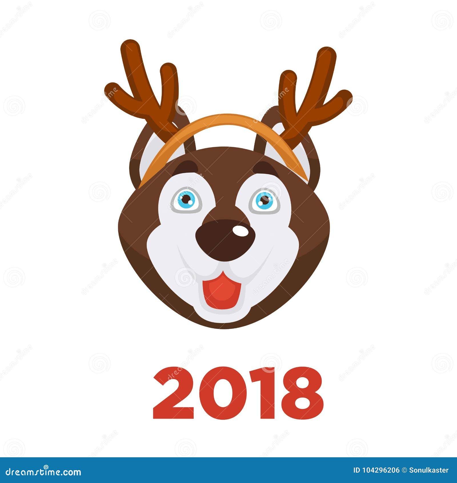 2018 Dog Year Christmas Dog Head In Santa Reindeer Antler Vector ...