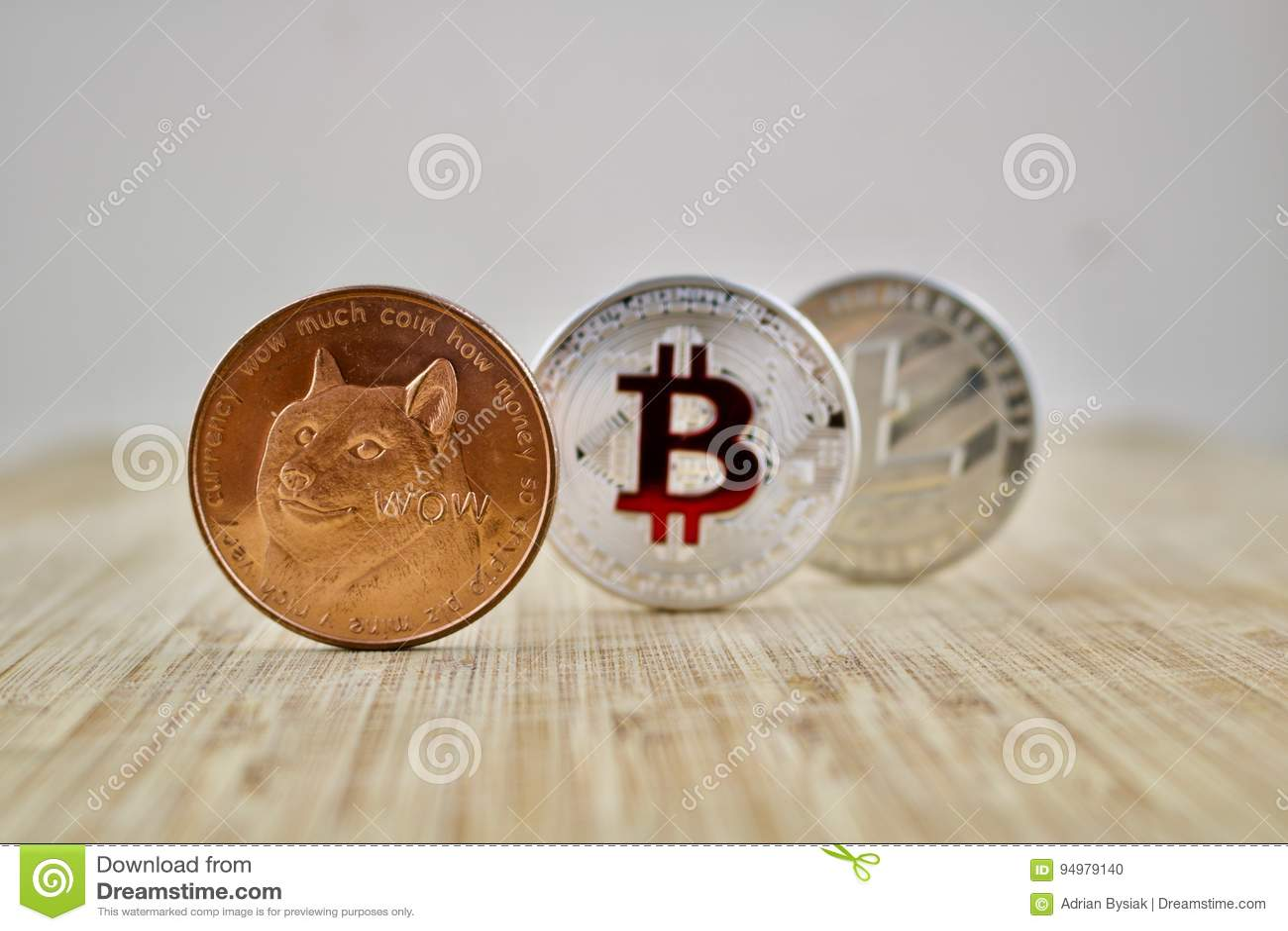 Dogecoin Bitcoin Litecoin stock photo. Image of value - 94979140
