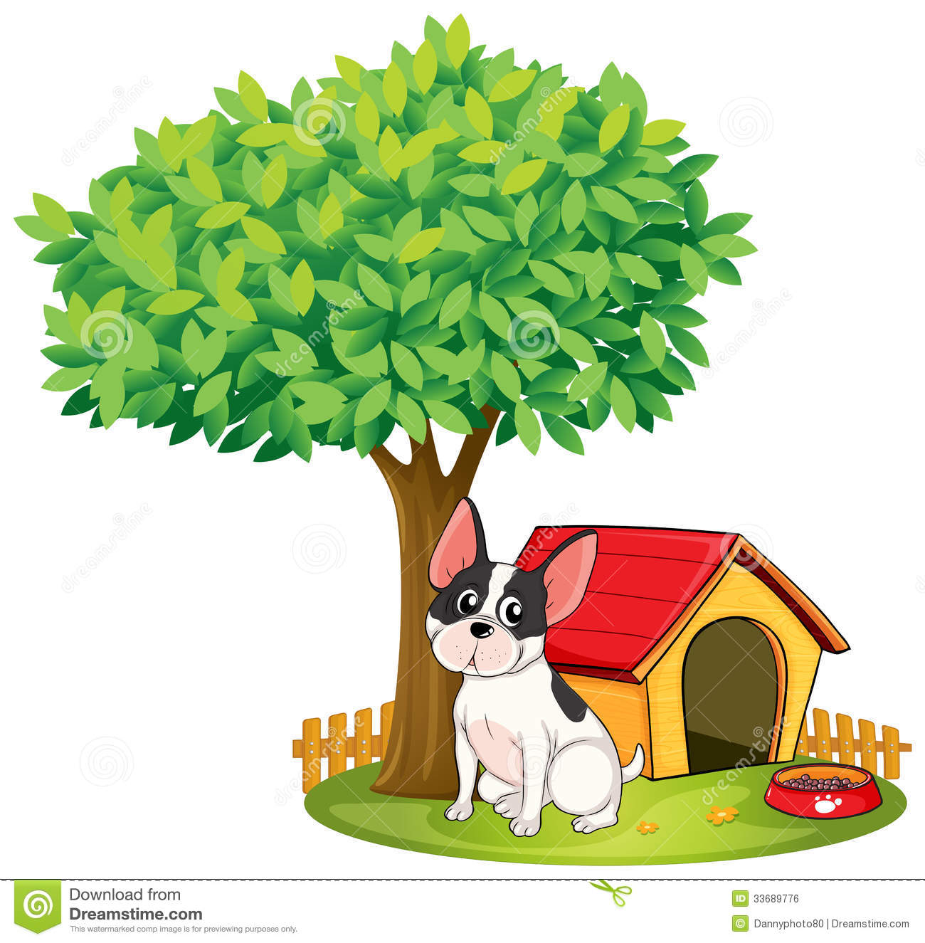 Casita Plans A Doghouse And A Dog Under A Tree Stock Vector