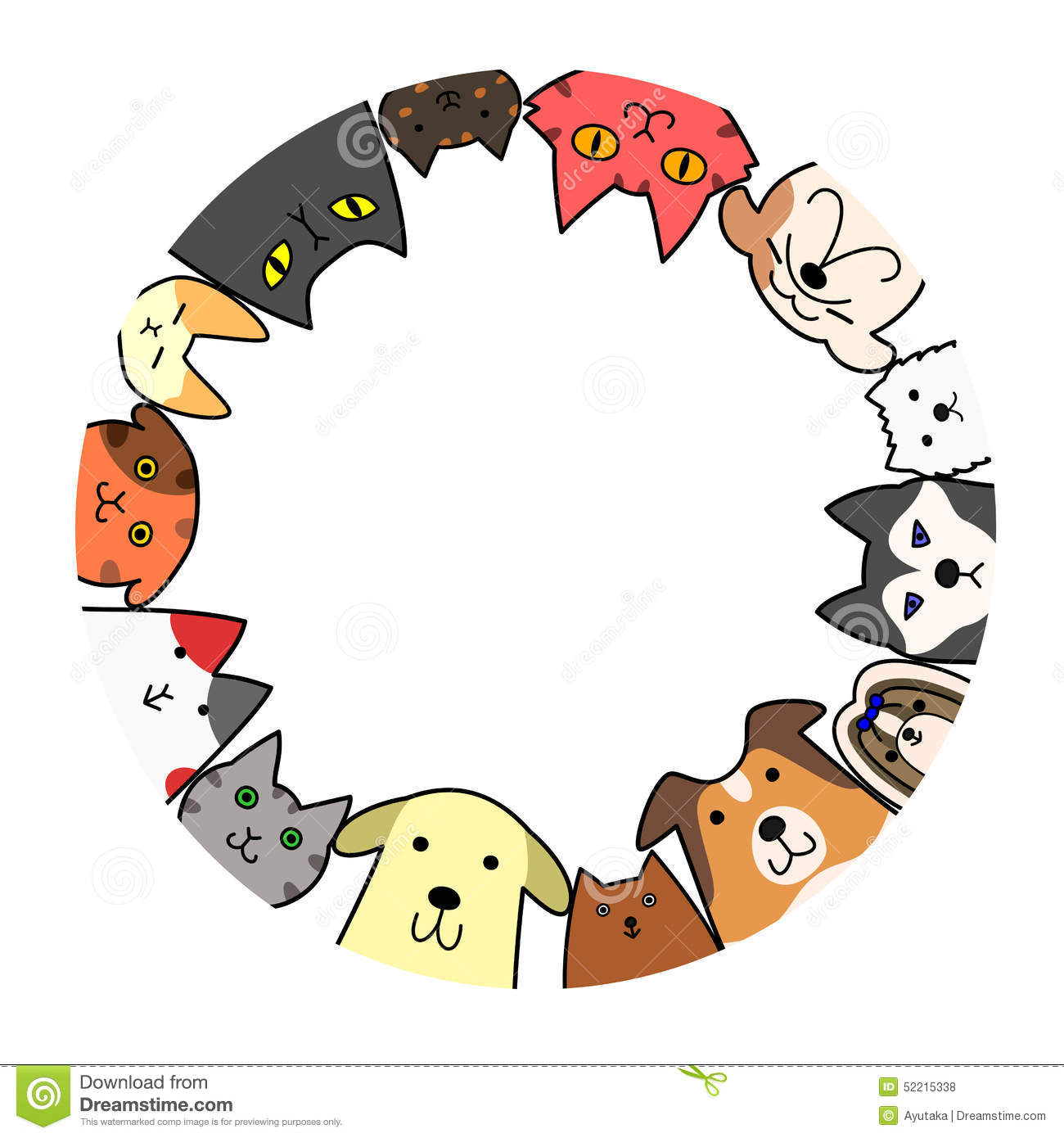 Dogs and cats circle with copy space