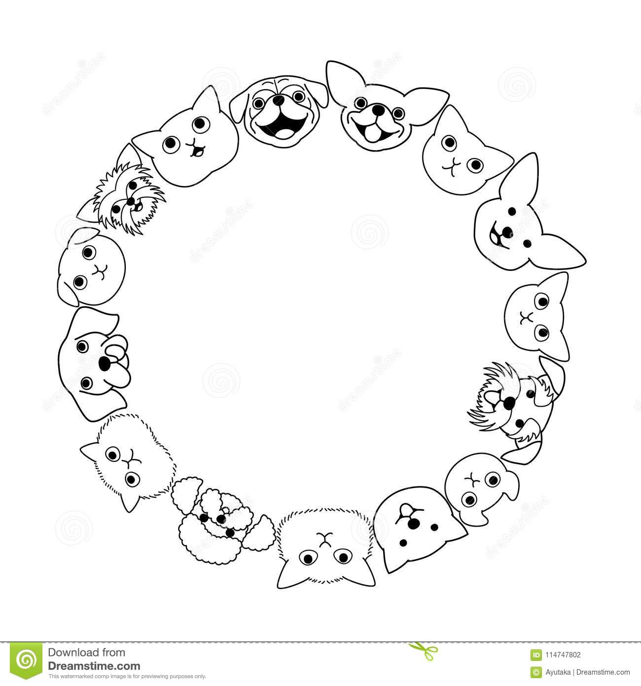 Dogs and cats face circle