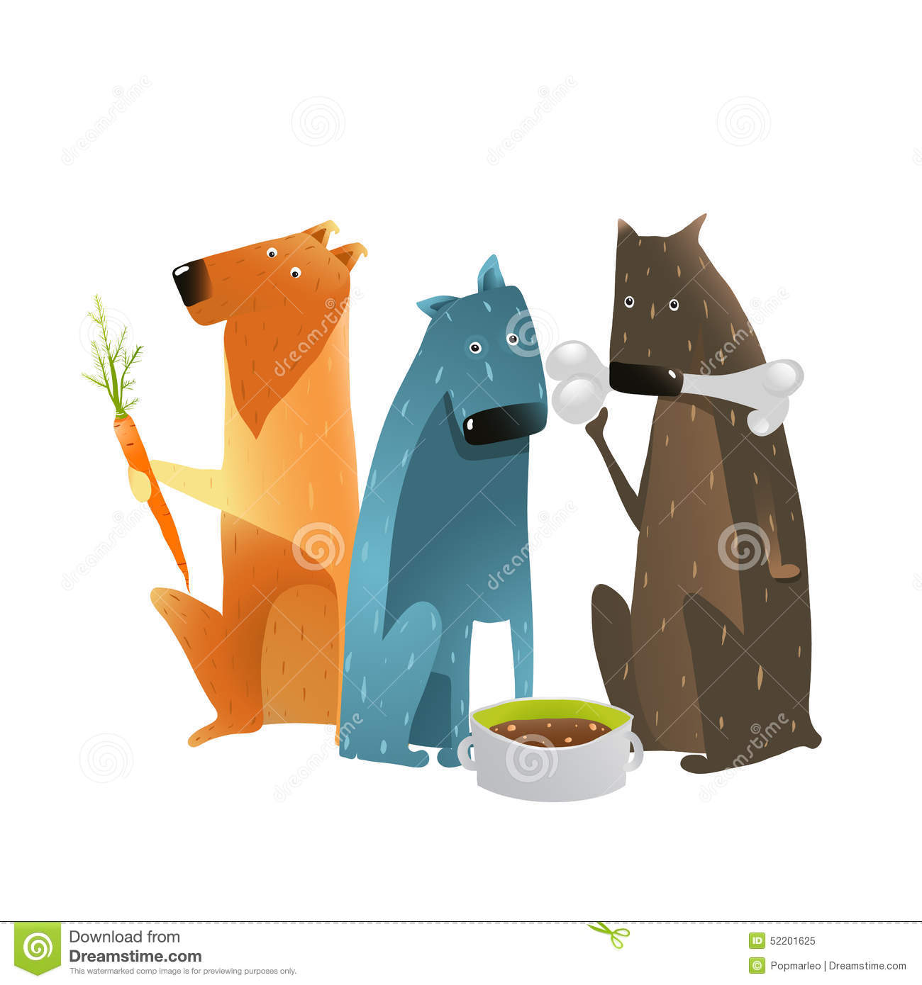 Three cartoon dogs with different types of food on white background ...