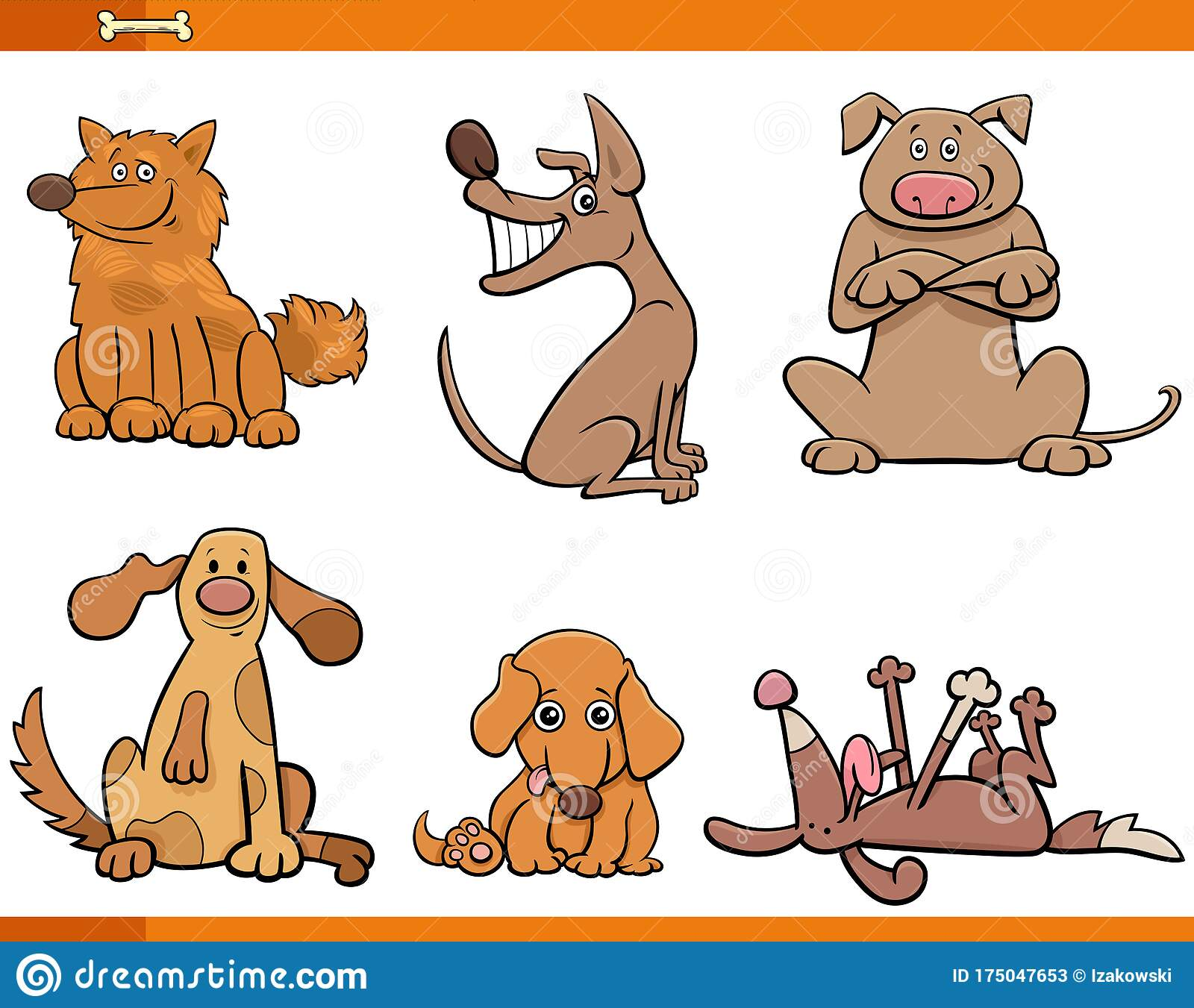 Dogs And Puppies Funny Animal Characters Set Stock Vector Illustration Of Witty Characters 175047653