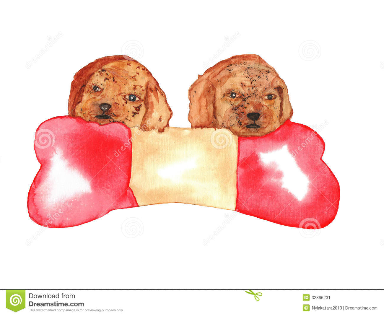Dogs Puppies Watercolor Stock Illustration Image Of