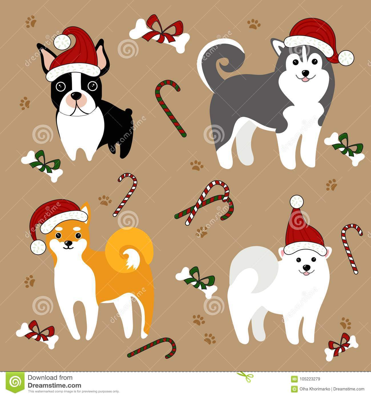 Dogs In Santa Hats. Christmas Card Stock Vector - Illustration of ...
