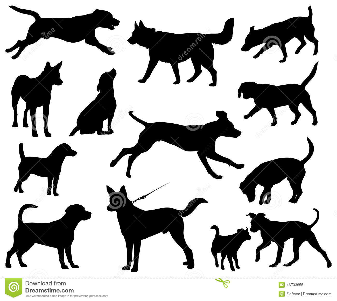 Isolated Dogs Silhouettes Royalty Free Stock Photo
