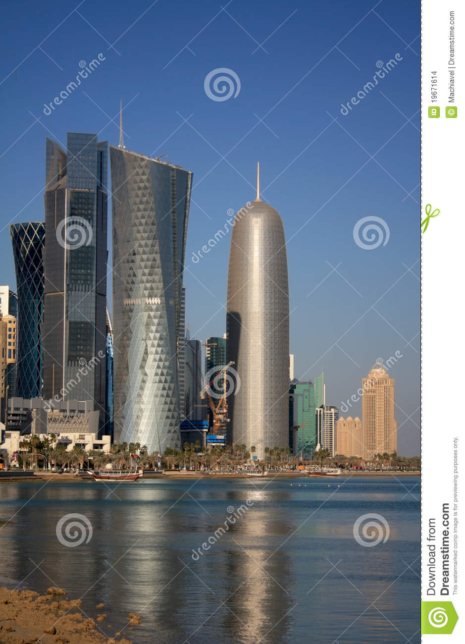doha office tower  by jean nouvel in doha  qatar editorial