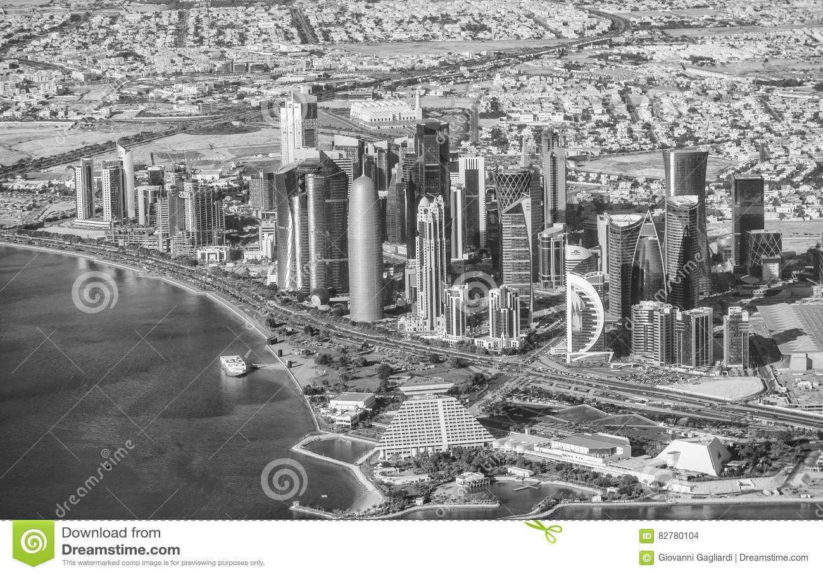 DOHA, QATAR - DECEMBER 12, 2016: Aerial View Of City Skyline