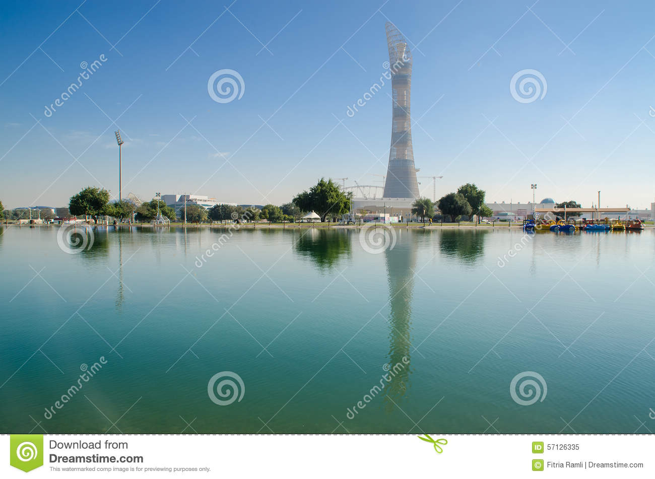 DOHA, QATAR - JULY 26: The Aspire Tower in Doha Sports City Complex. July 26, 2015 in Doha, Qatar, Middle East