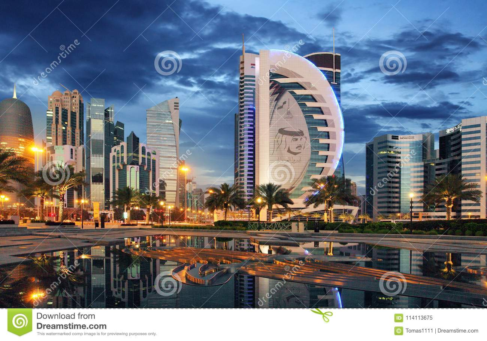 DOHA, QATAR - 9 MARS 2018 : Vue Occidentale De Baie De Doha