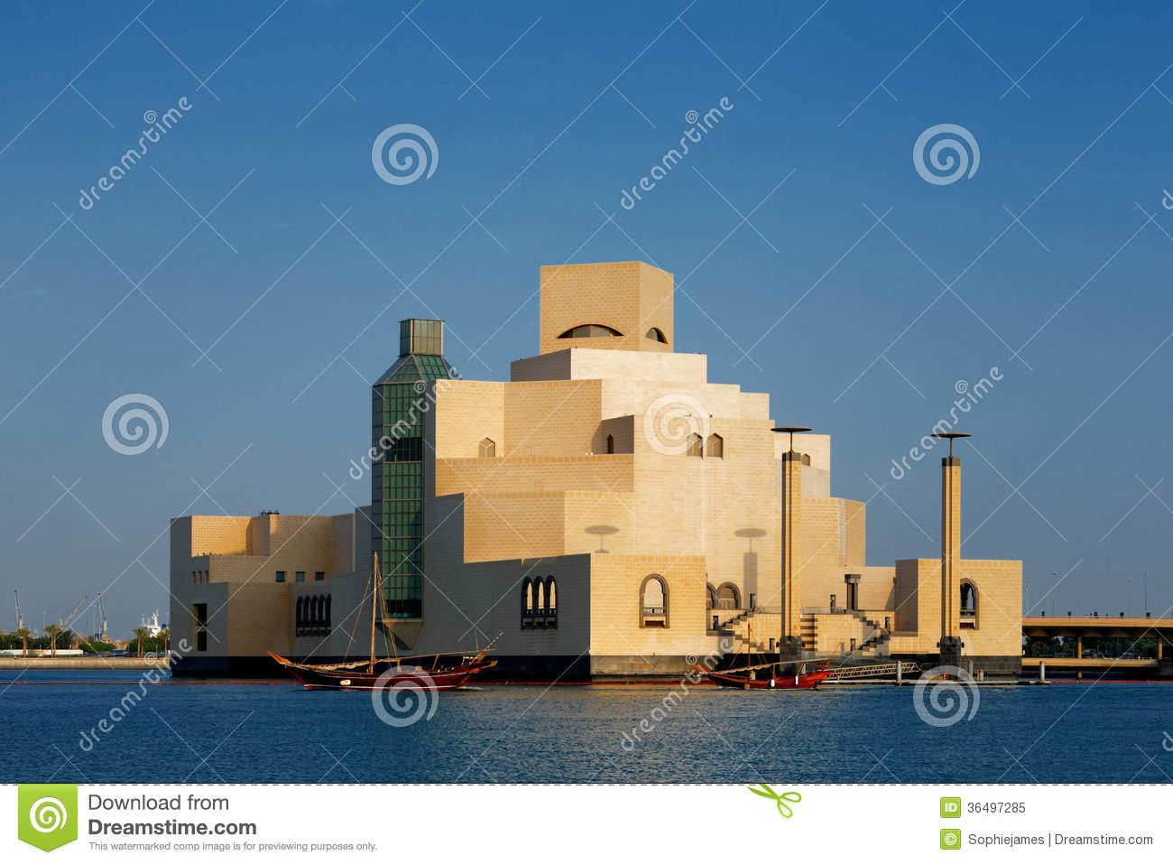 Doha qatar the museum of islamic art royalty free stock for Architecture qatar