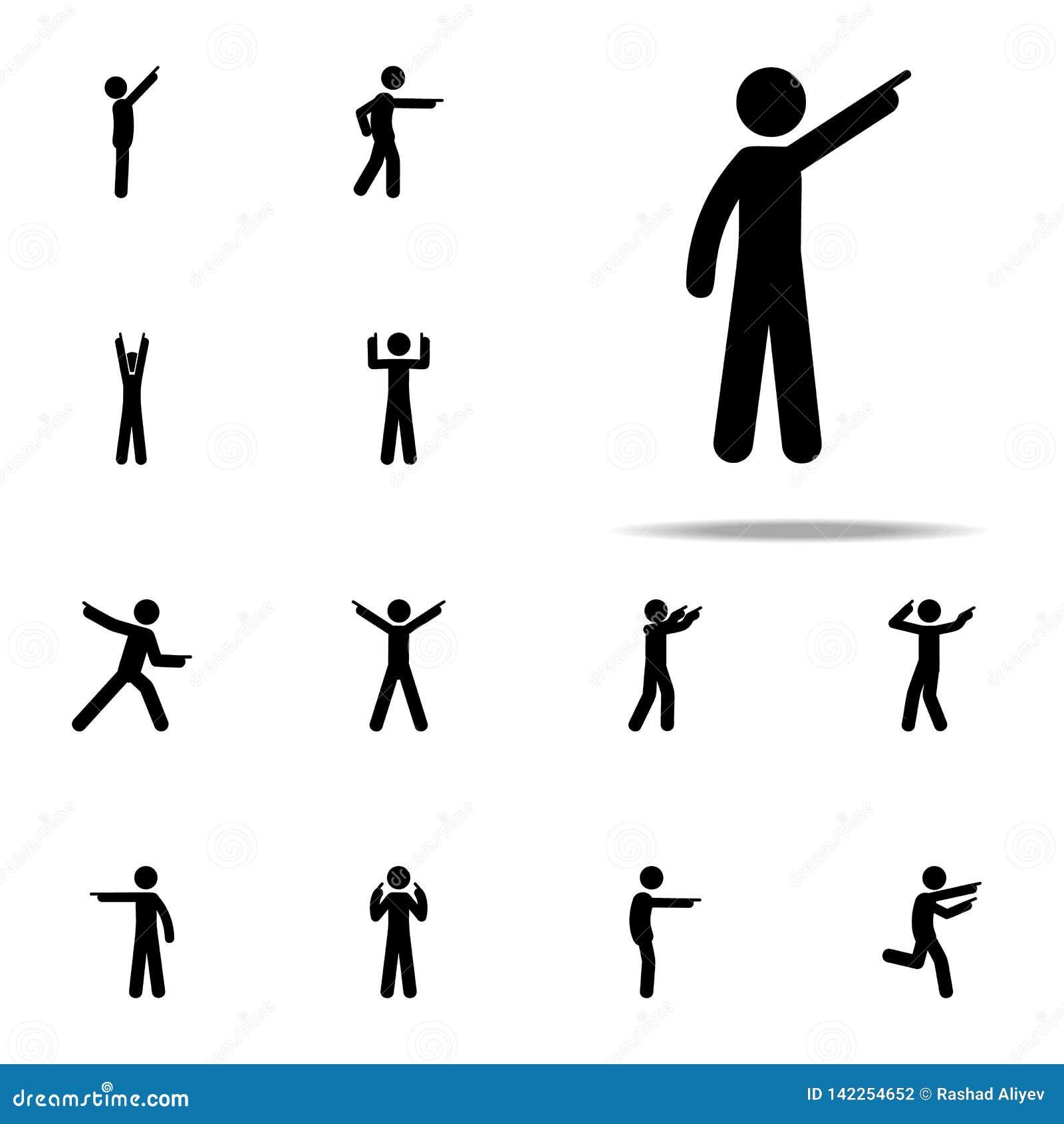 Doigt d homme, vers le haut d icône Homme dirigeant l ensemble universel d icônes de doigt pour le Web et le mobile