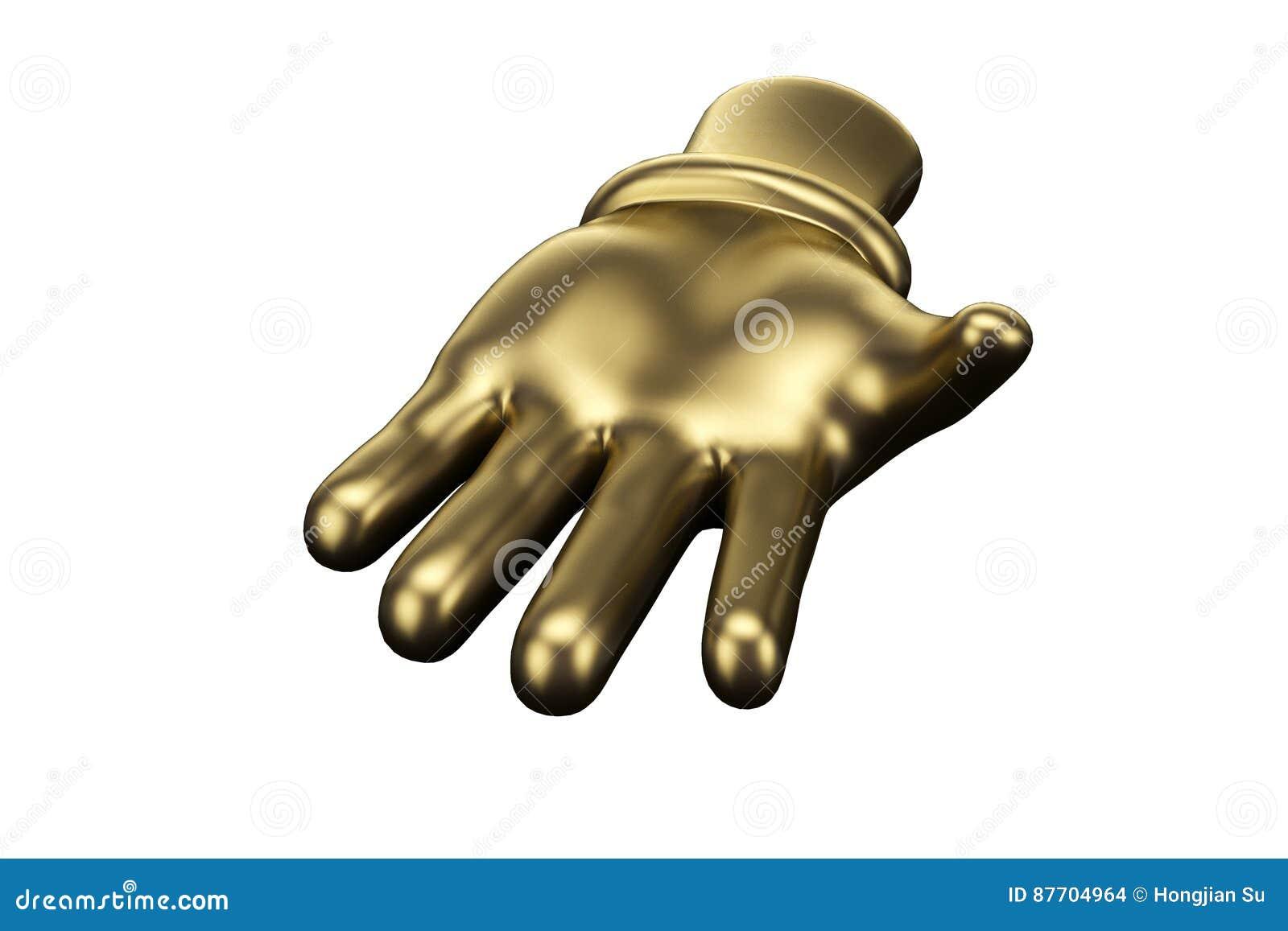 Doigt d or, main ouverte illustration 3D