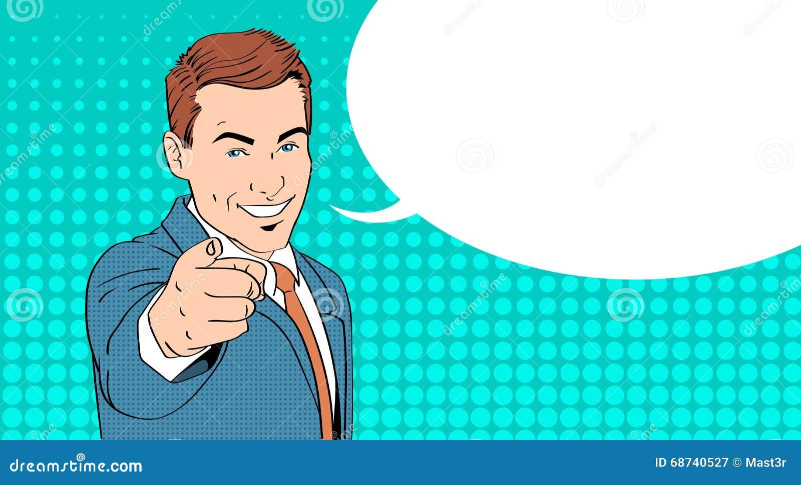 Doigt de point d homme d affaires à vous bruit Art Colorful Retro Style de bulle de causerie