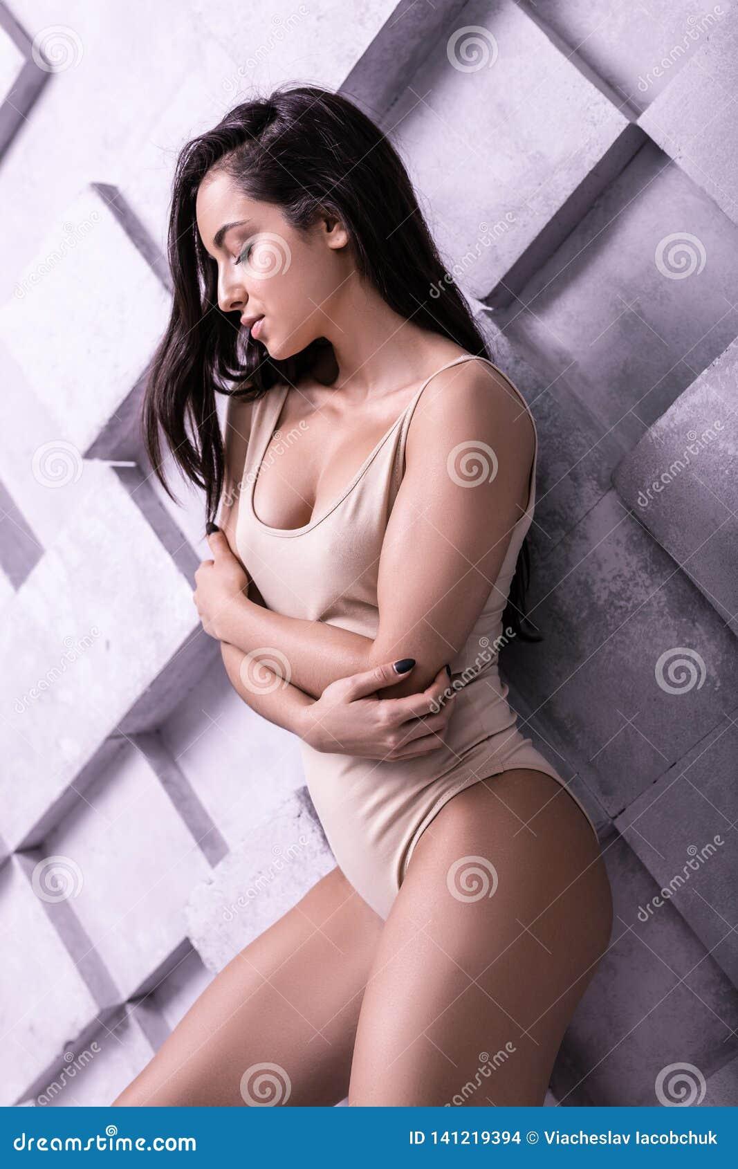 Fashion profile portrait of marvelous beautiful doing modeling poses lady