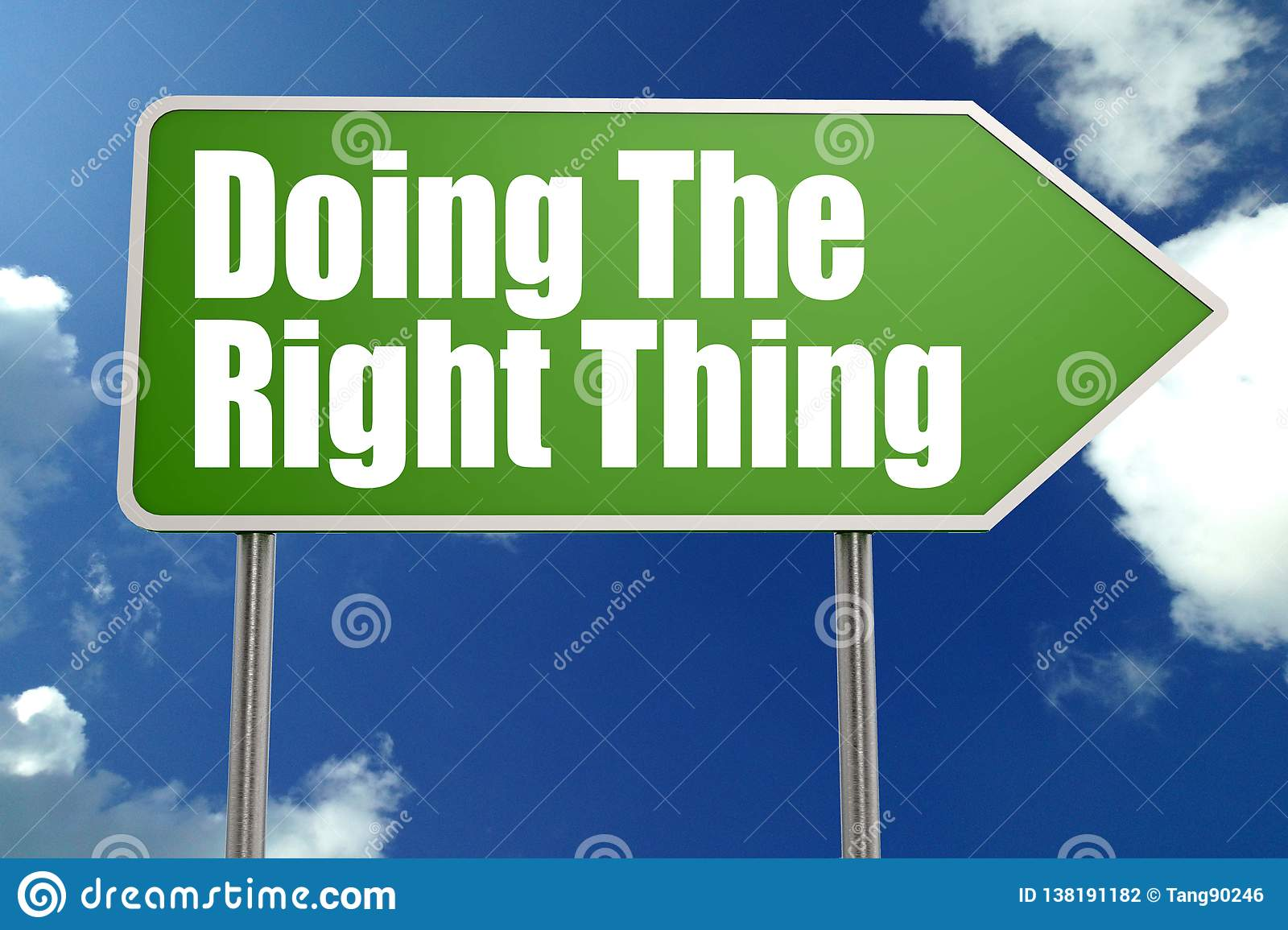 Doing The Right Thing Word With Green Road Sign Stock Illustration -  Illustration of inspiration, notice: 138191182