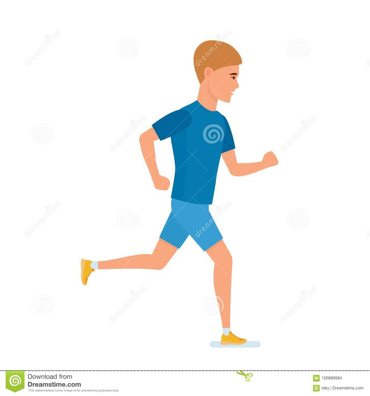 Young athlete engaged in athletics, jogging. Sports training, side view.