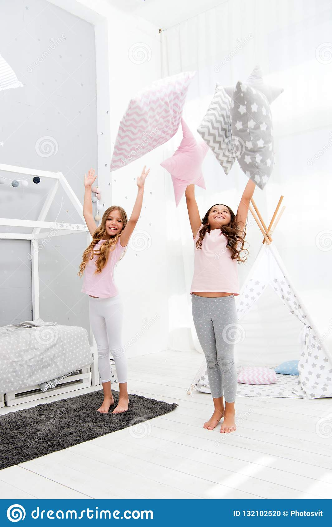 doing whatever they want sleepover party ideas sisters play rh dreamstime com