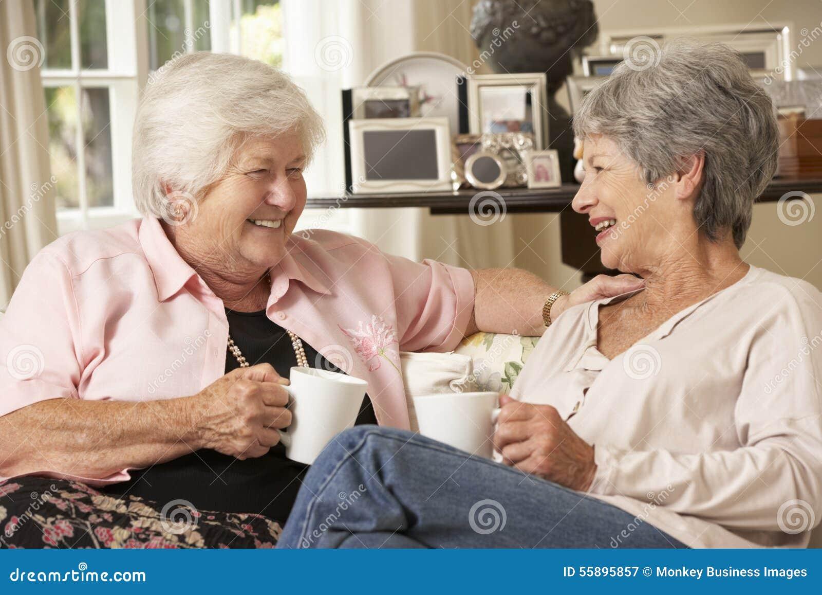 Dois aposentaram-se os amigos fêmeas superiores que sentam-se em Sofa Drinking Tea At Home
