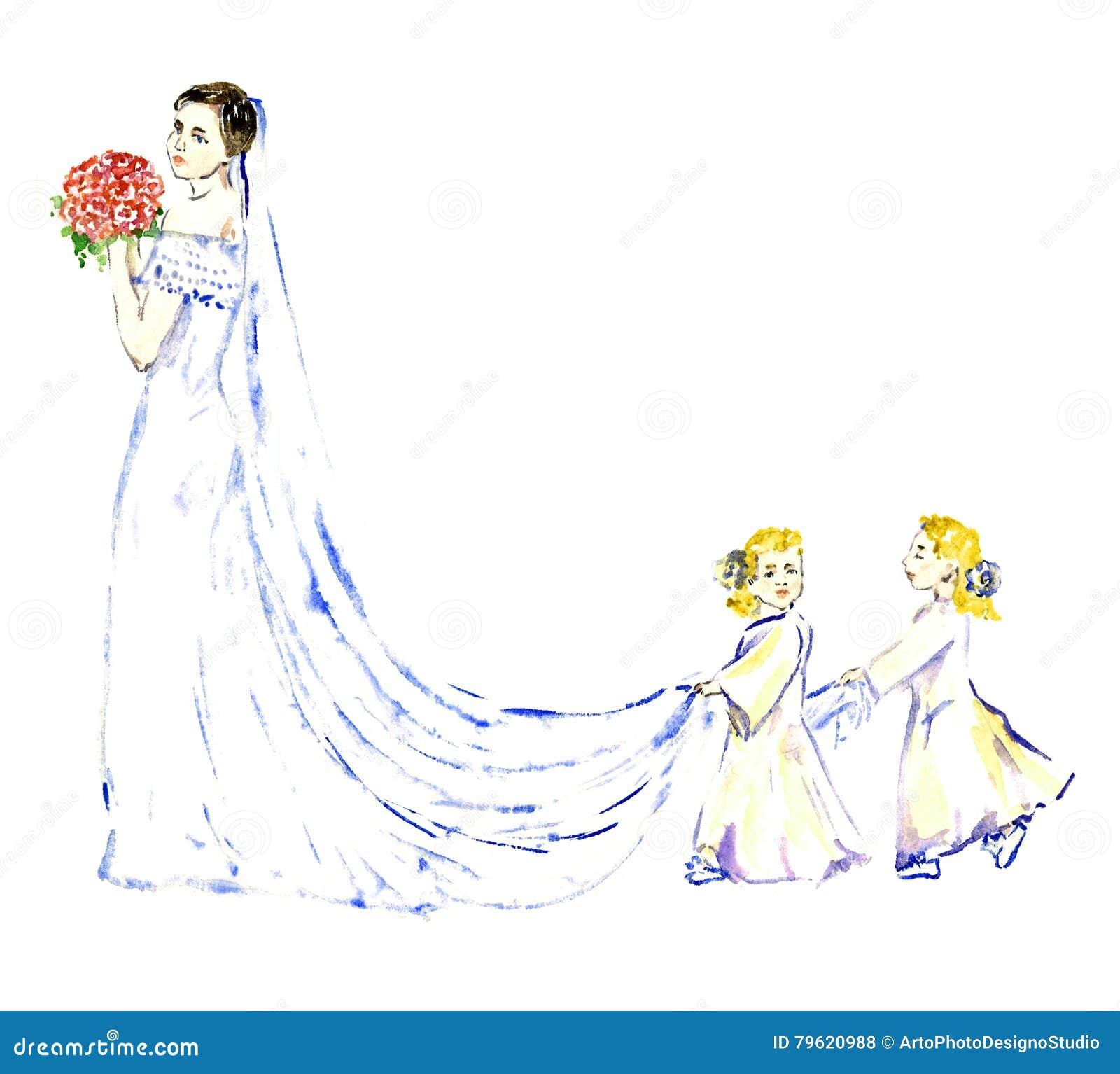 Dois bebês que levam o vestido longo branco da dama de honra do trem