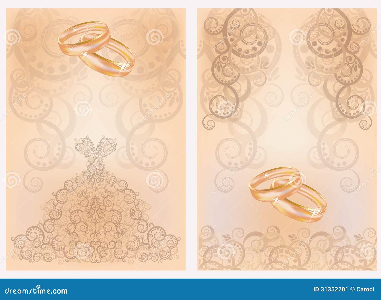 Cartões De Casamento: Dois Cartões Do Convite Do Casamento Com Anéis Dourados