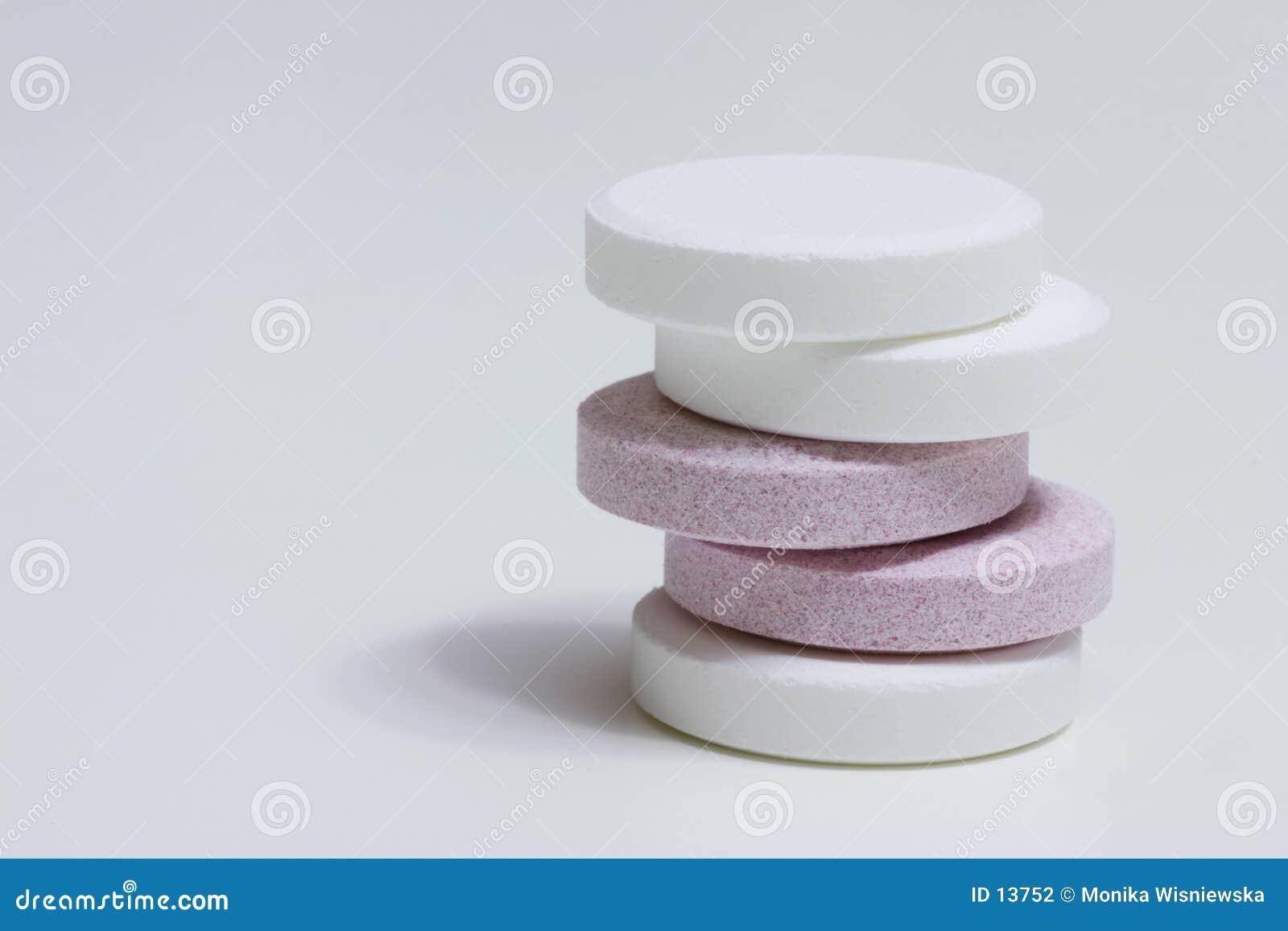 Dois comprimidos das cores