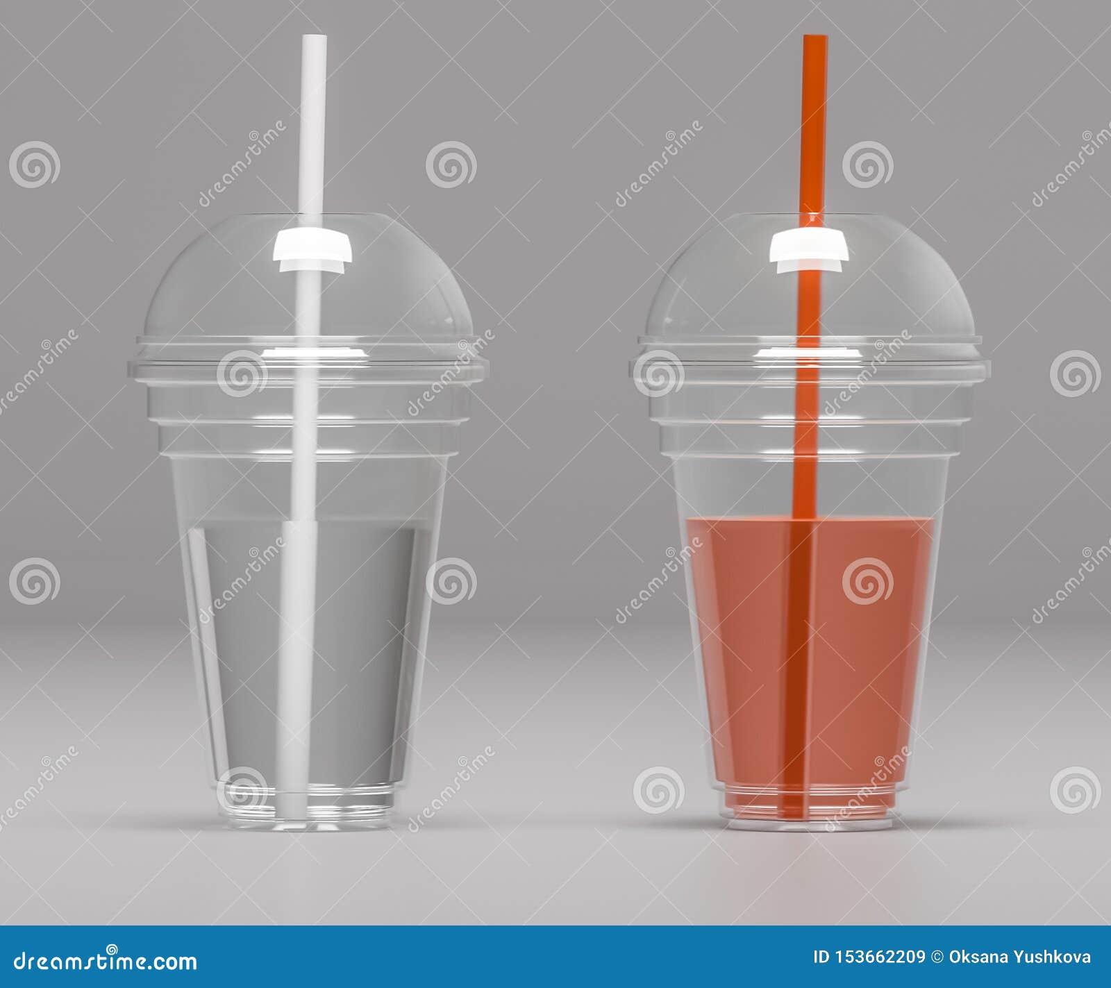 Dois copos plásticos transparentes com tubos - ilustração 3D