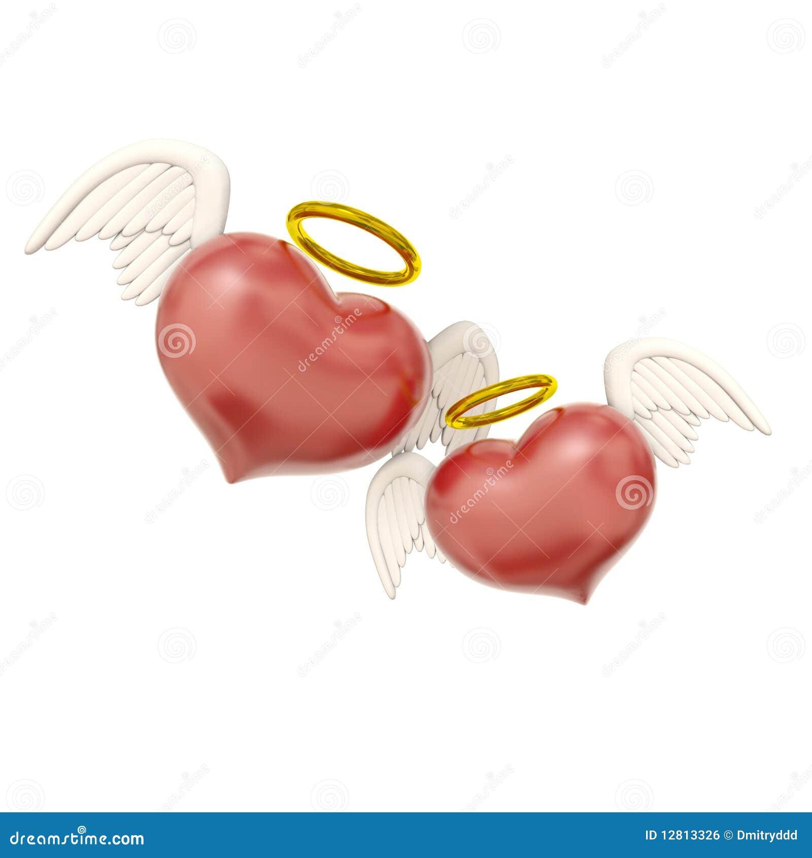 Dois corações do amor com asas