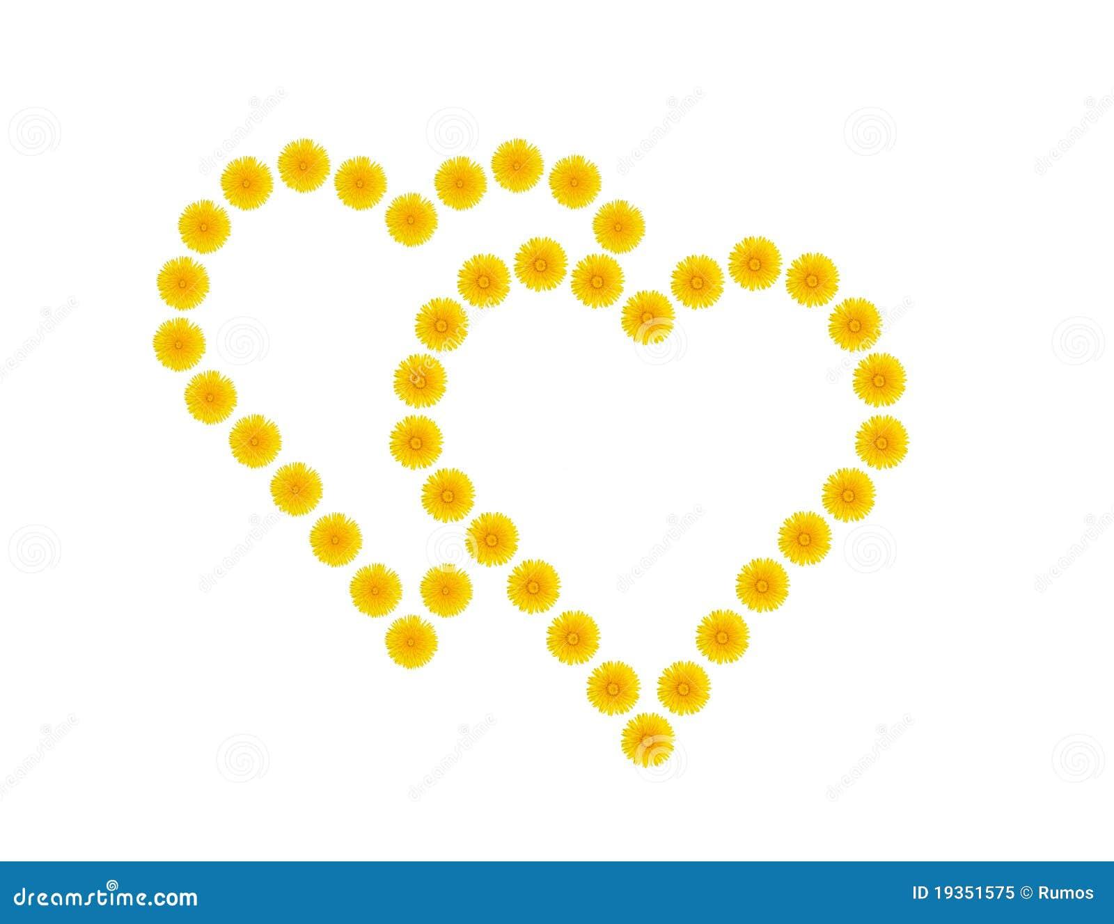 Dois corações sobre dos dentes-de-leão amarelos