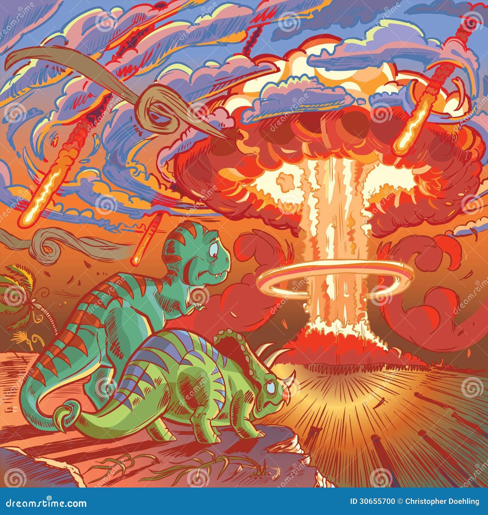 Dois Dinossauros Olham O Apocalipse Foto de Stock - Imagem ...