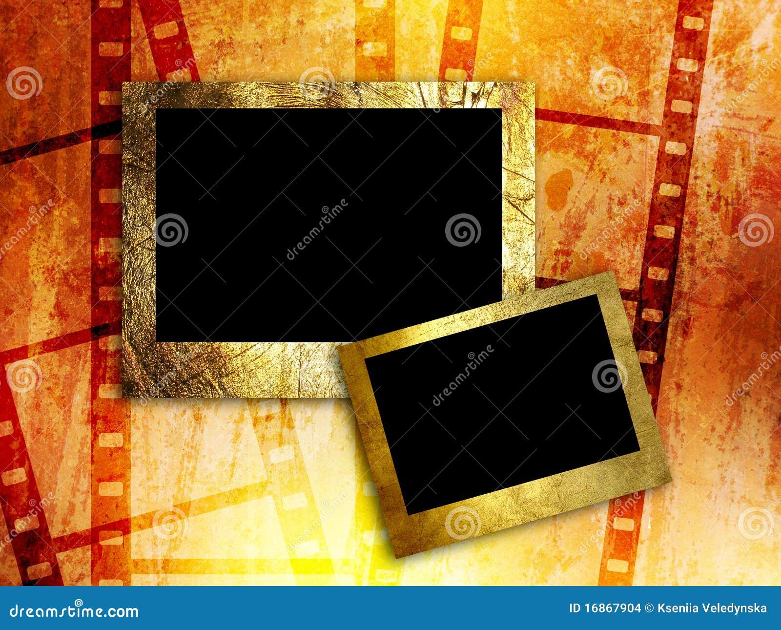 Dois frames vazios da foto no fundo da tira da película
