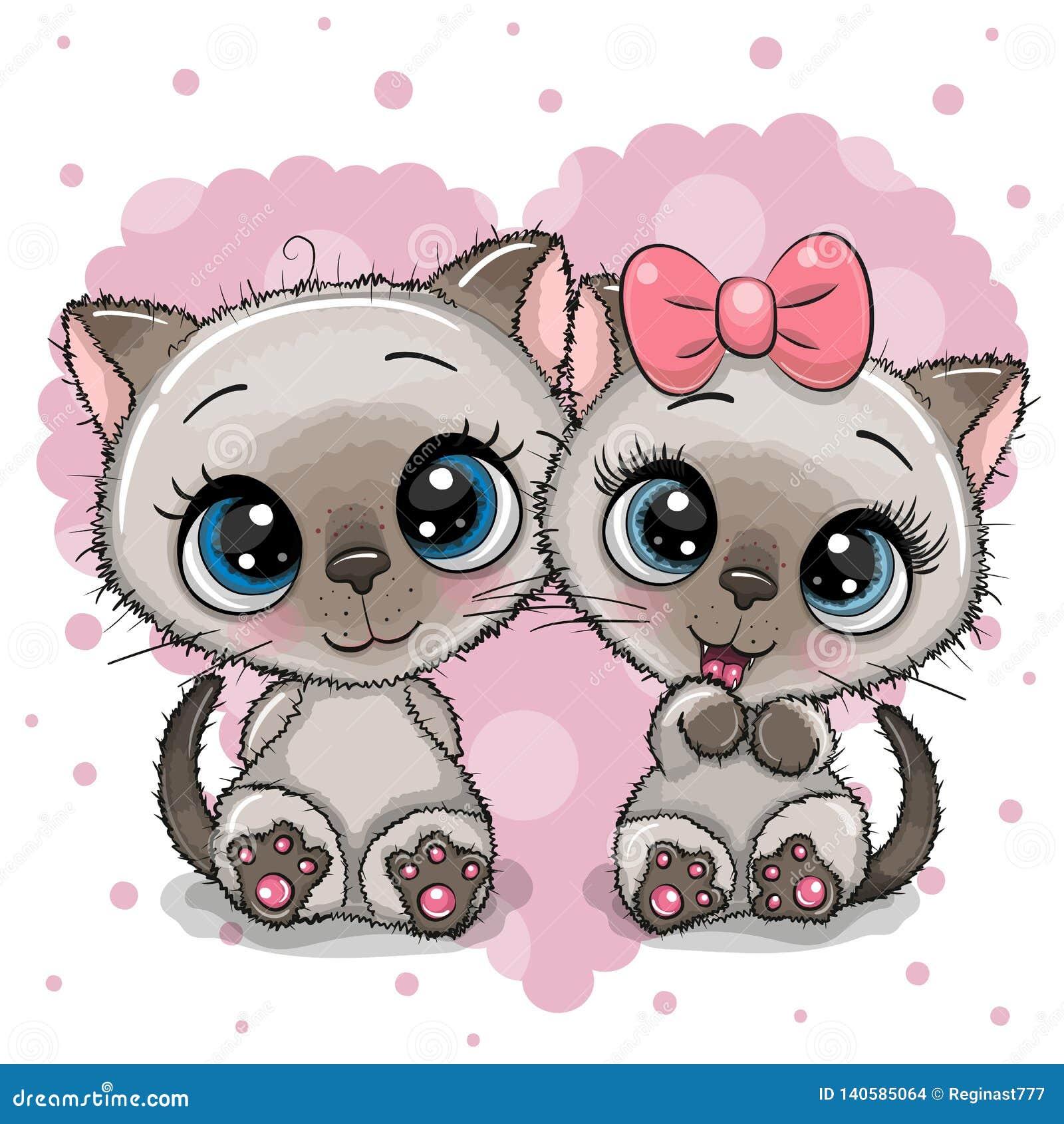 Dois gatinhos bonitos em um fundo do coração