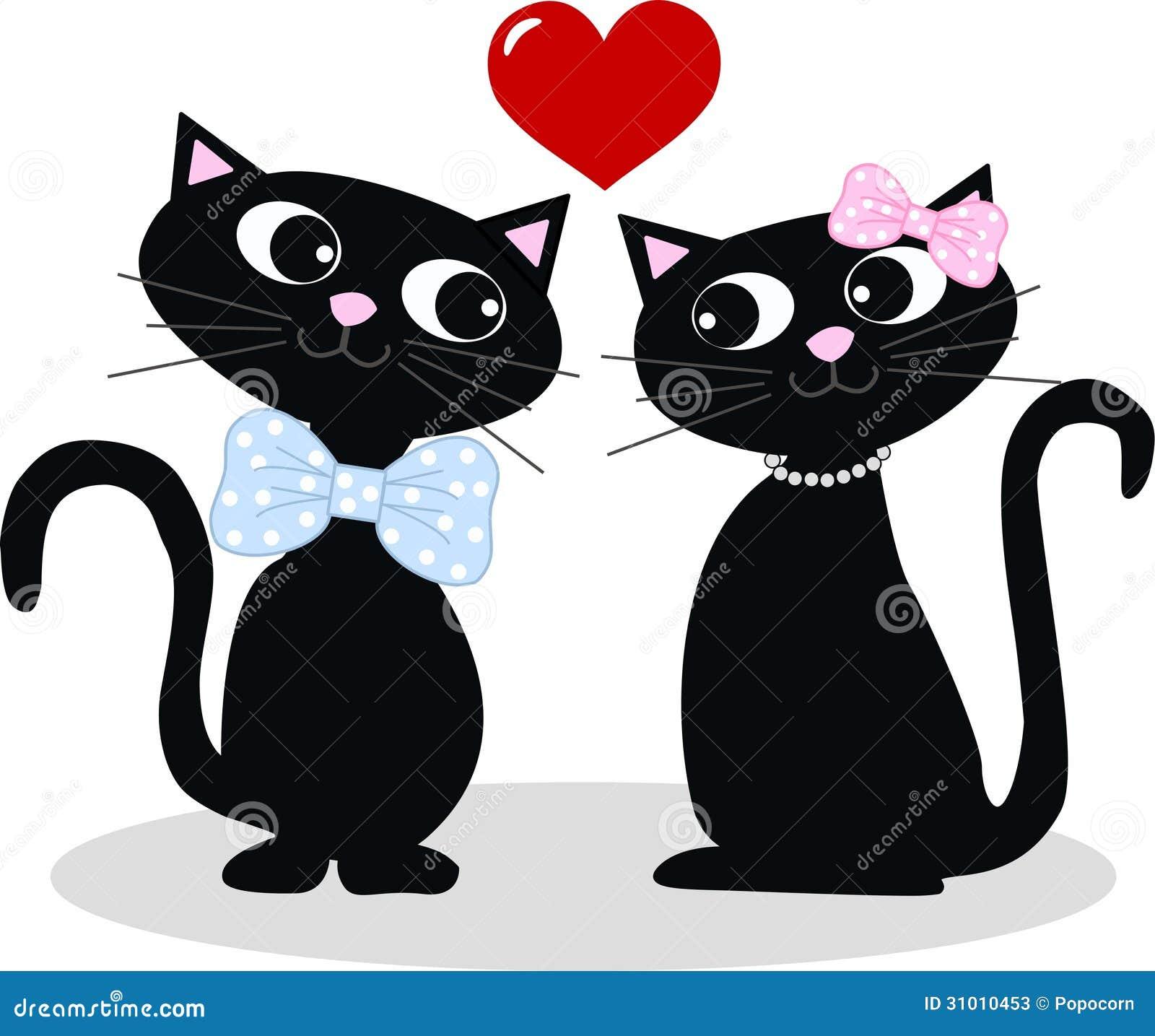Dois Gatos No Amor Ilustração Do Vetor Ilustração De Imagem 31010453