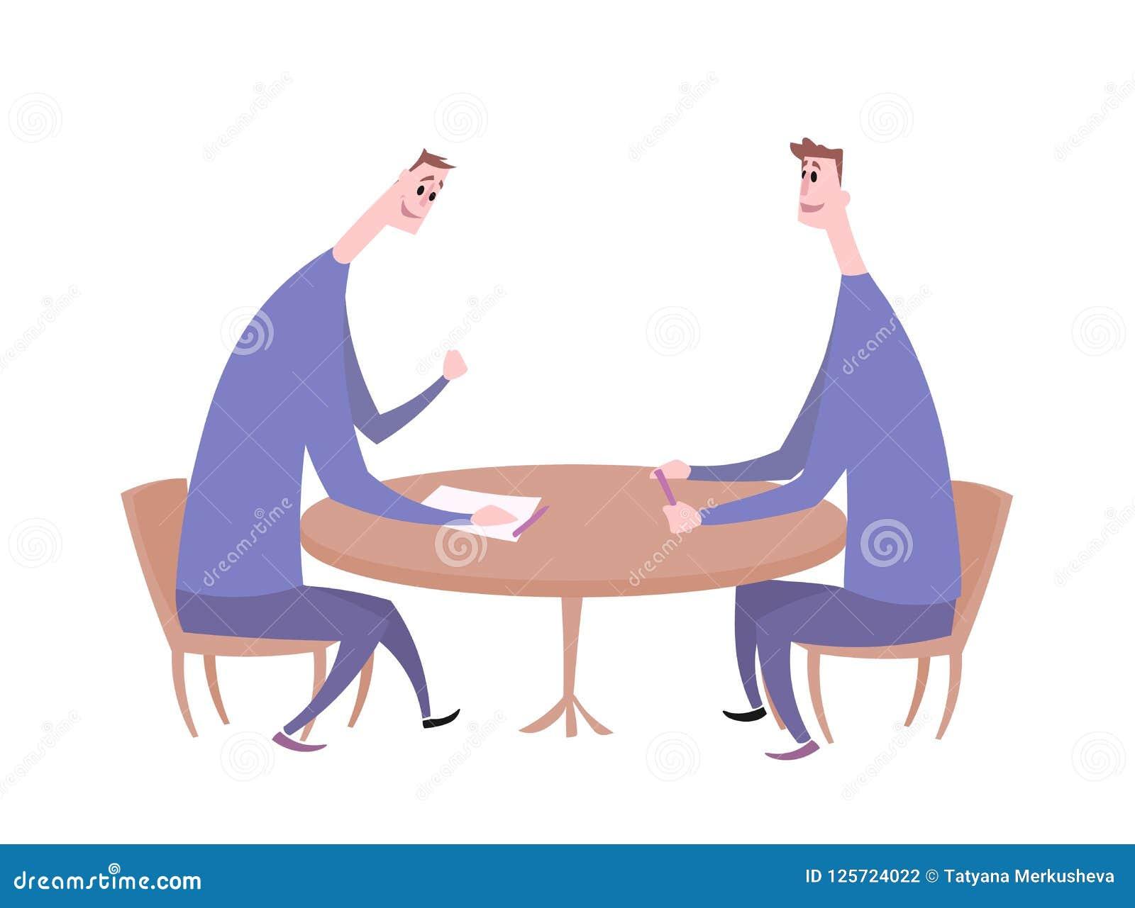 Dois indivíduos que têm uma conversação na tabela Reunião de negócios, entrevista de trabalho, negociação Ilustração lisa do veto