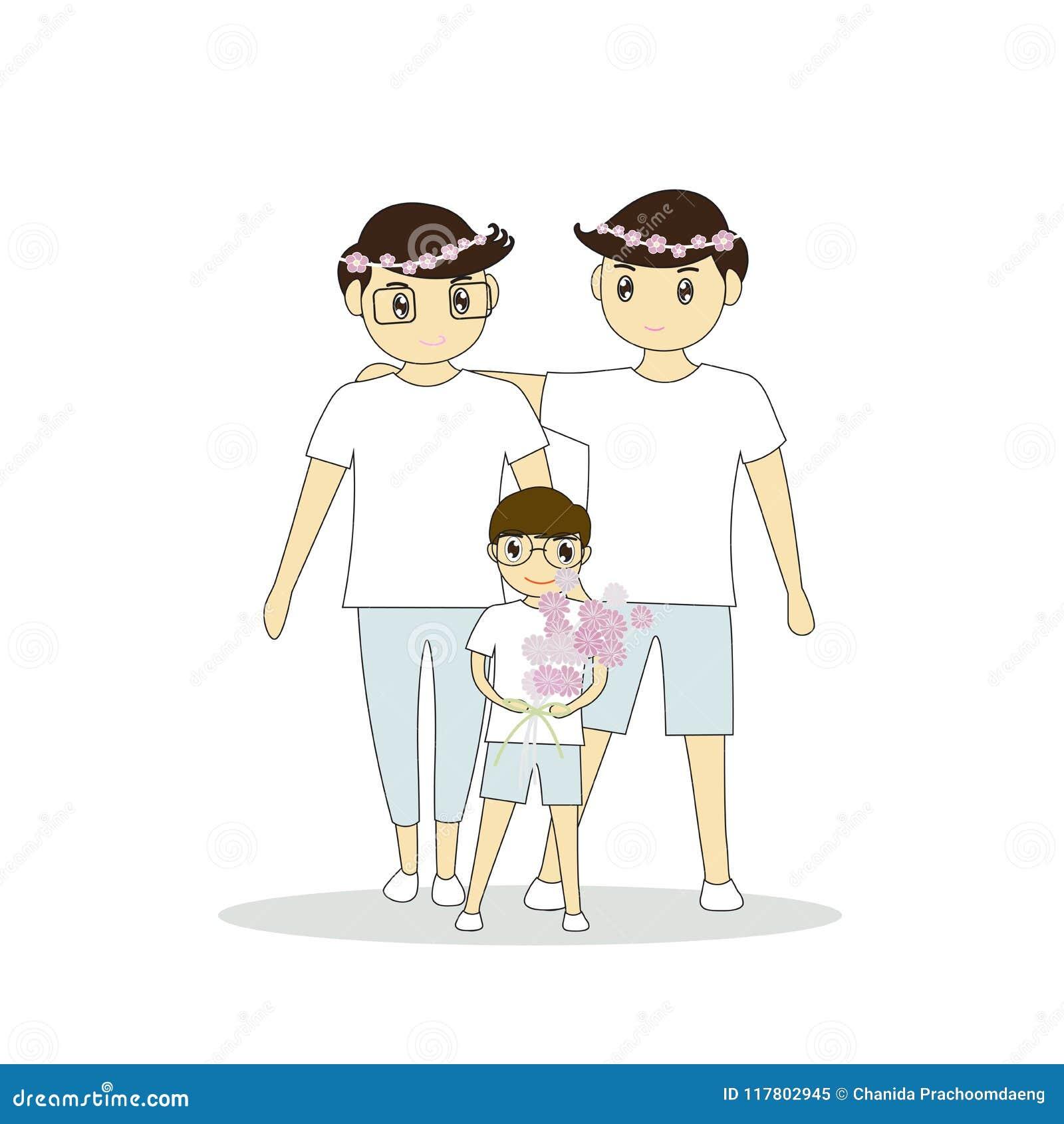 Dois jovens são homem feliz que está e que abraça-se Menino que guarda um ramalhete das flores no casamento