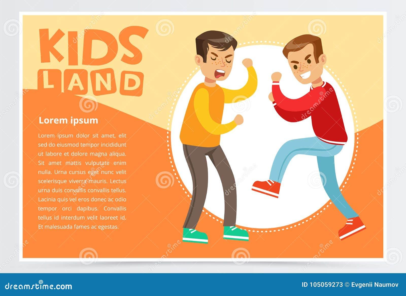 Dois meninos adolescentes que lutam-se, colega tiranizando do menino, comportamento agressivo, caçoam o elemento liso do vetor da