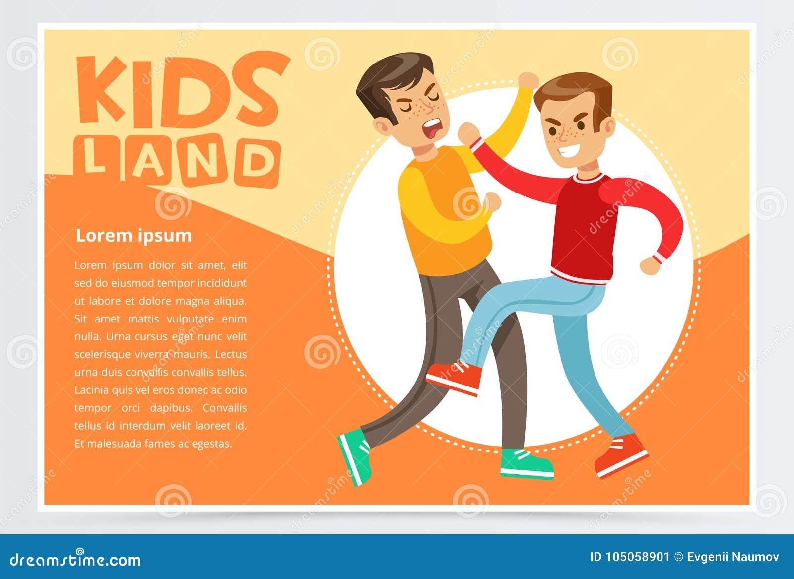 Dois meninos adolescentes que lutam-se, crianças adolescentes que discutem, comportamento agressivo, caçoam o elemento liso do ve