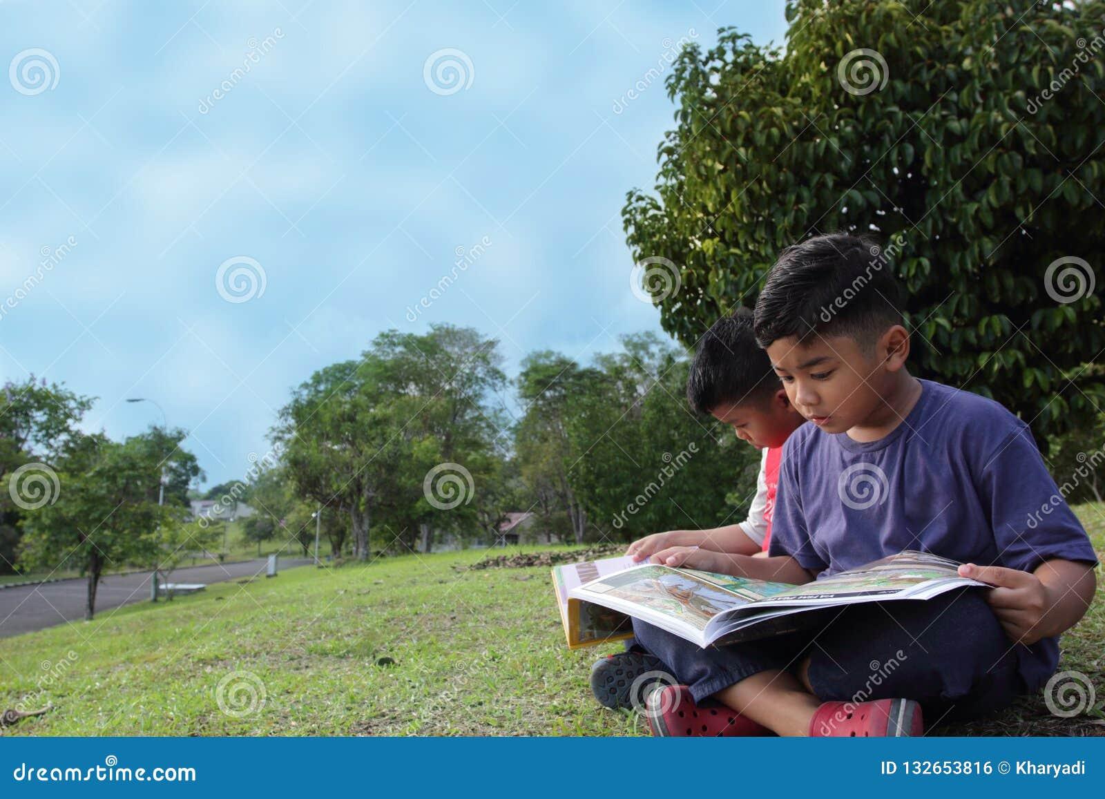 Dois meninos bonitos que leem um livro no parque seriamente
