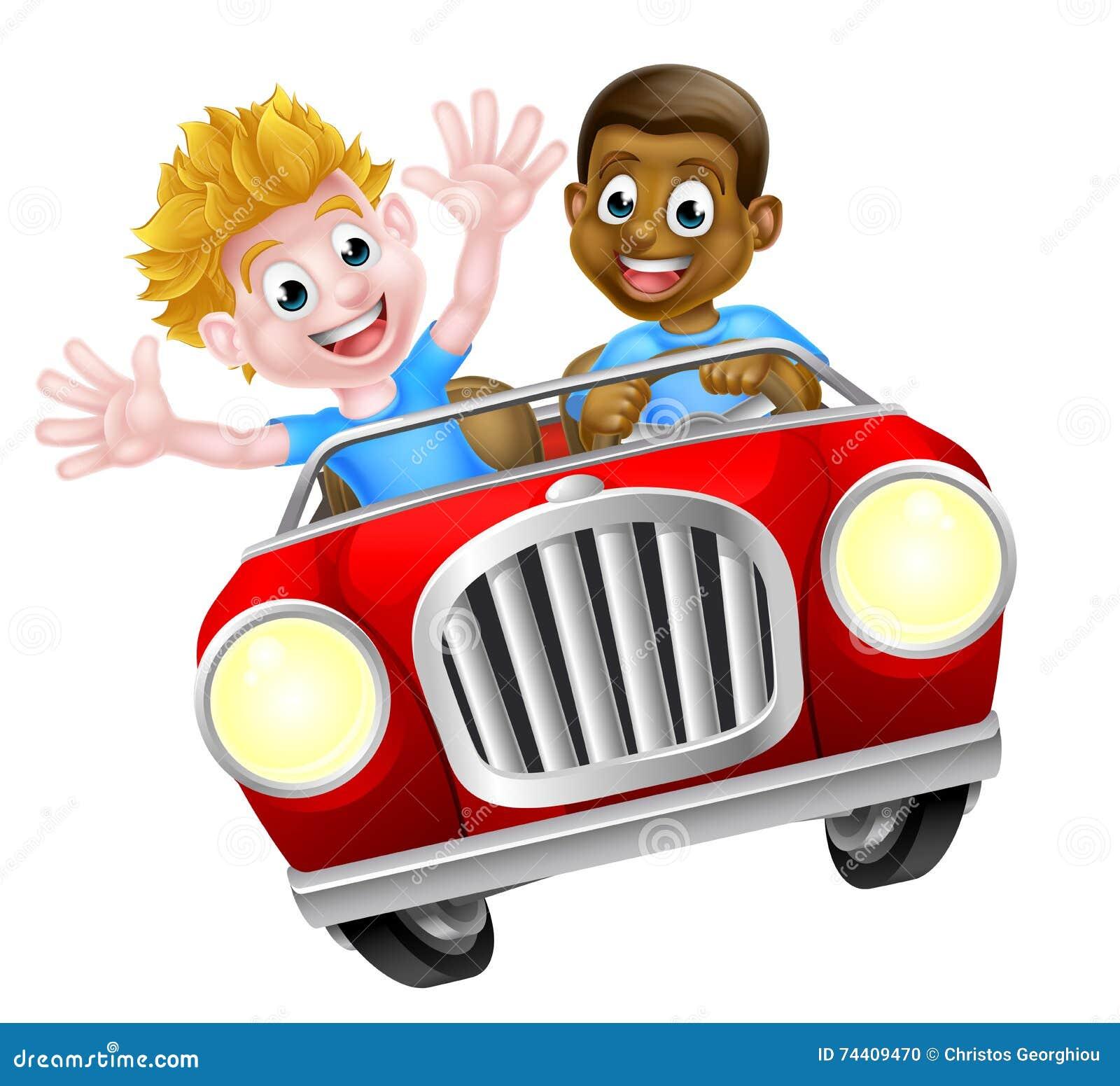 Dois Meninos Em Um Carro Ilustracao Do Vetor Ilustracao De