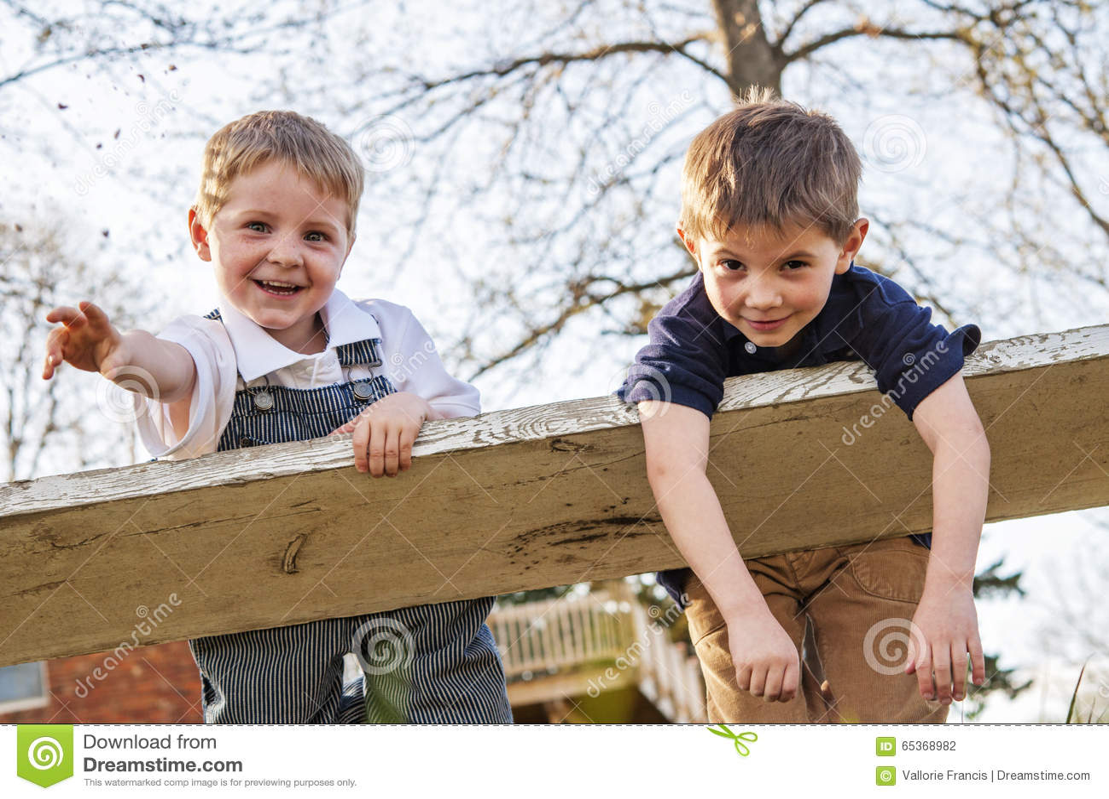 Dois meninos ornery no balanço