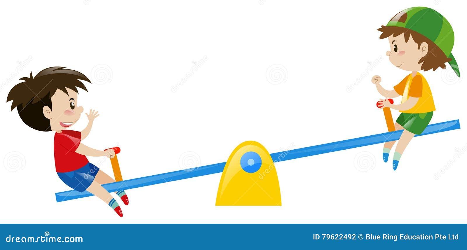 Dois meninos que jogam na balancê