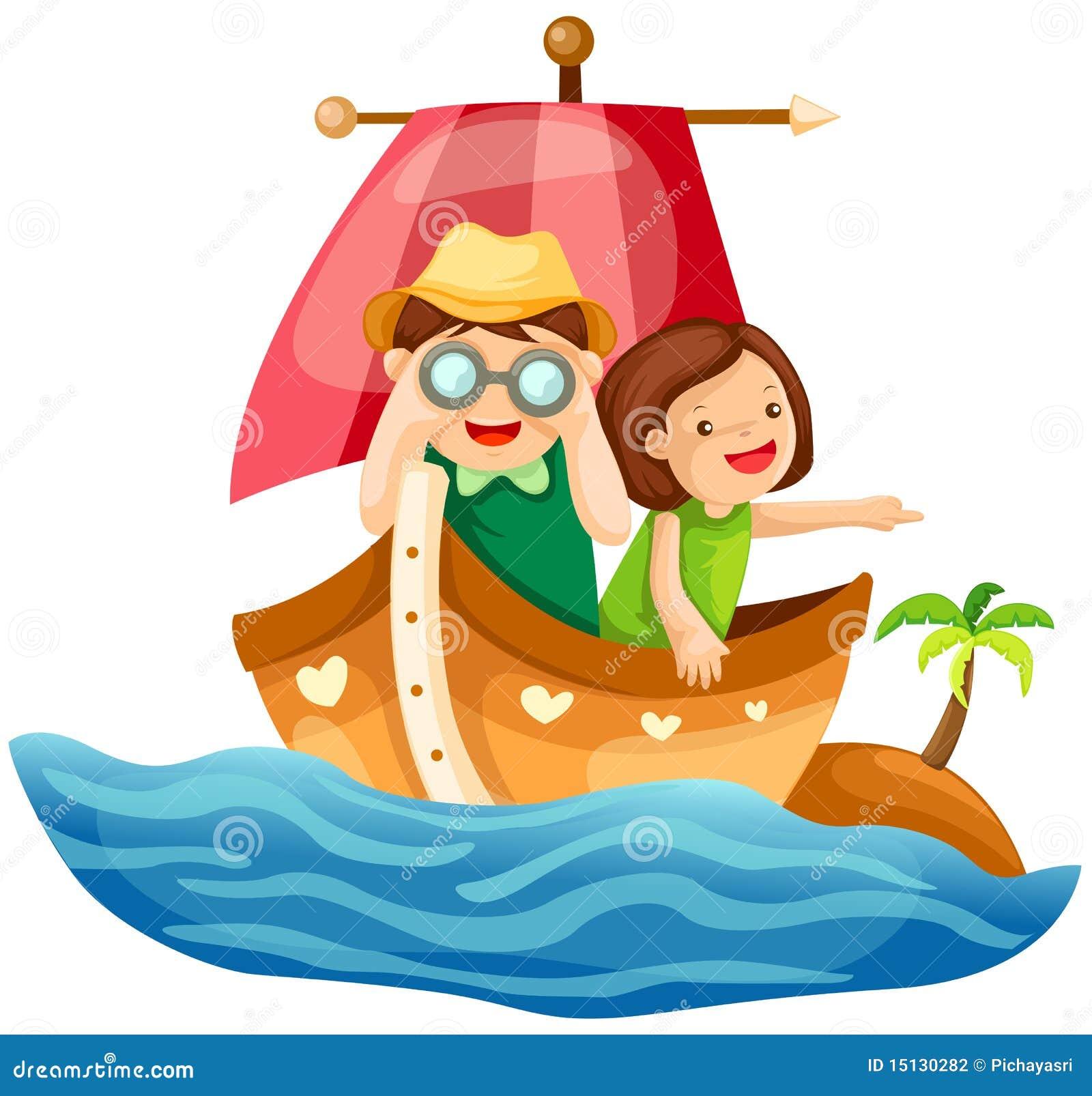 Dois miúdos que navegam no mar