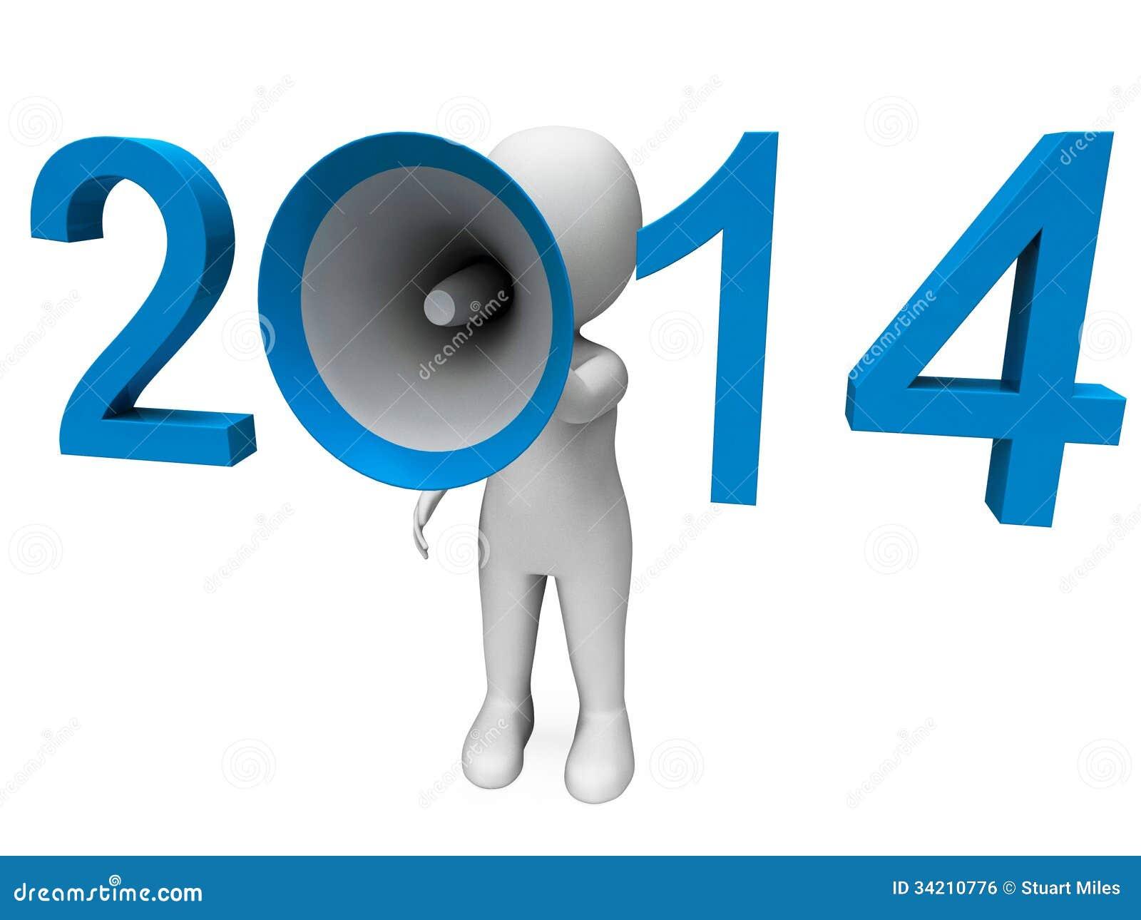Dois mil quatorze Hailer altos mostram o ano 2014