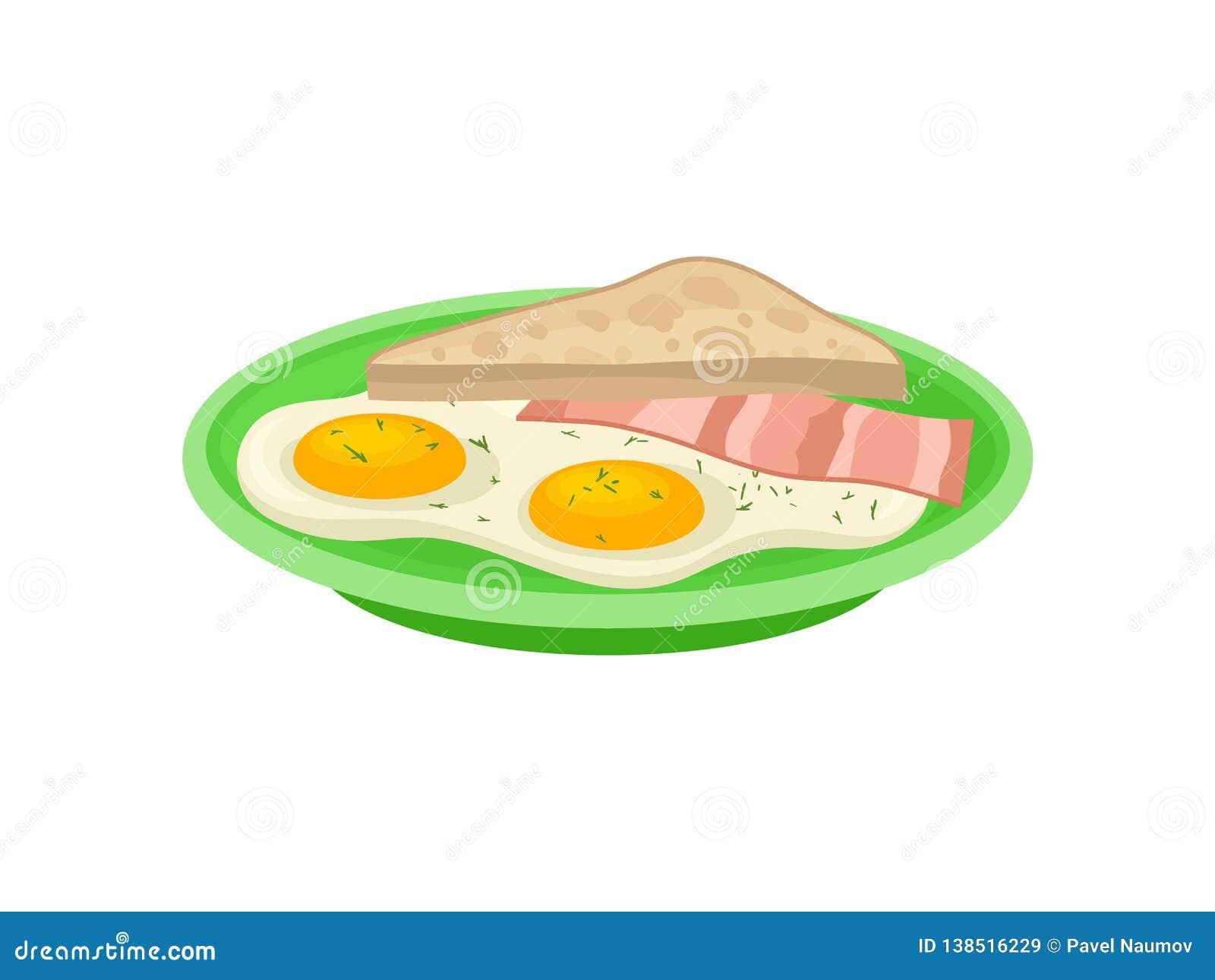 Dois ovos fritos, fatia de bacon e pão do brinde na placa verde Alimento saboroso Projeto liso do vetor do café da manhã apetitos